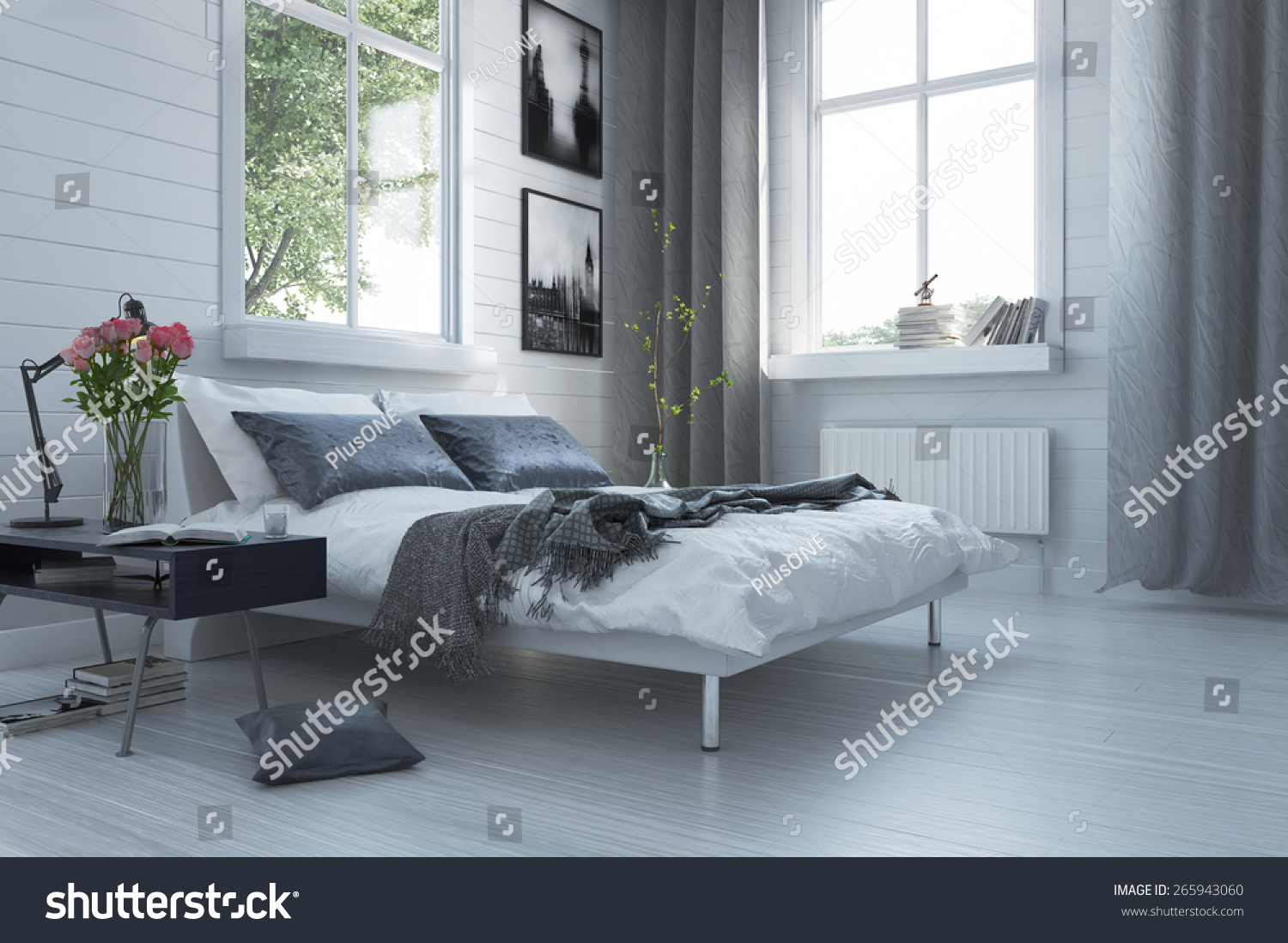 Luxury grey and white modern bedroom interior with a for Grey double divan