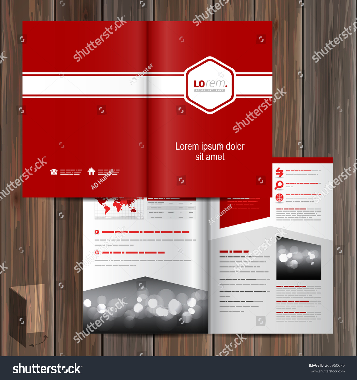 Red Classic Brochure Template Design White Stock Vector - Horizontal brochure template