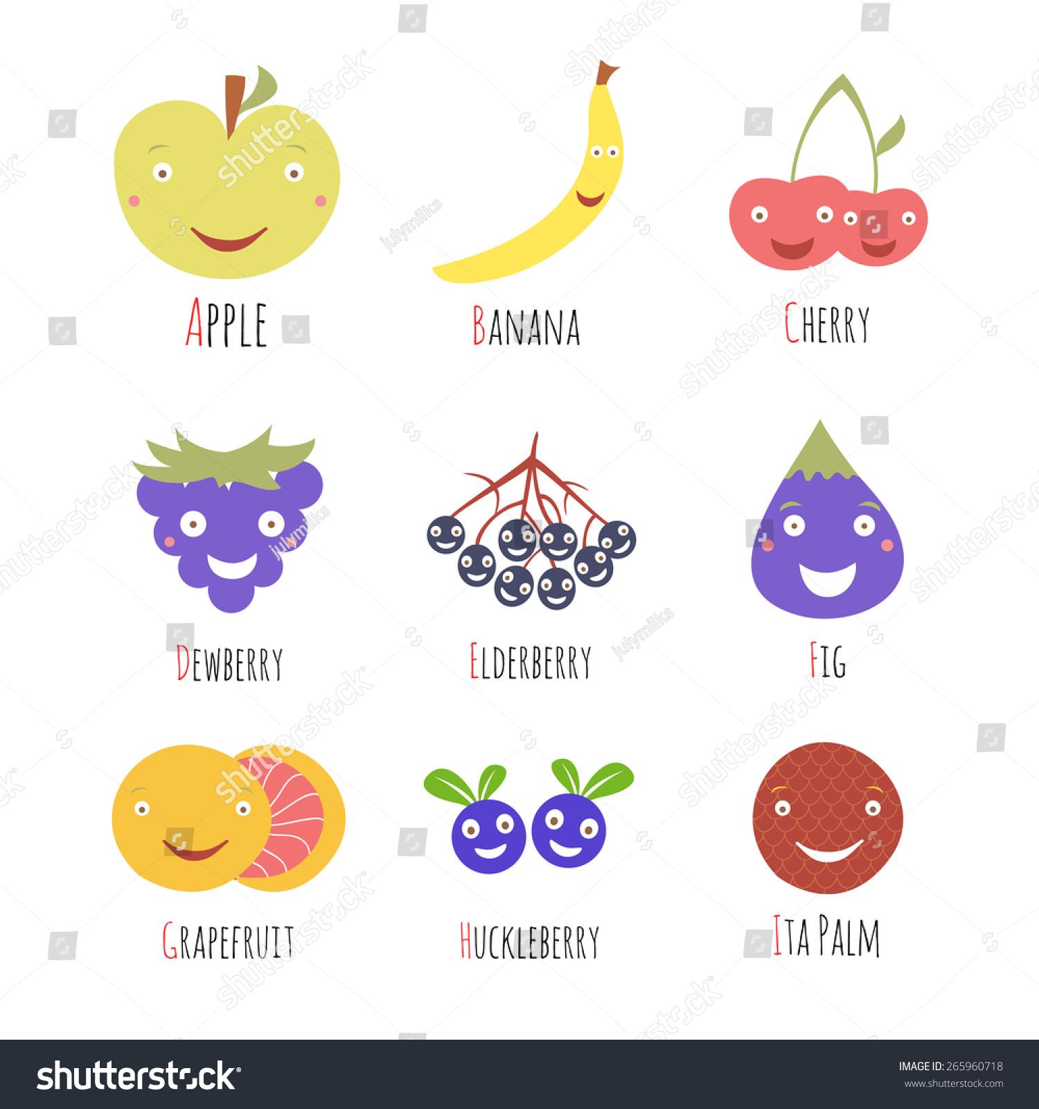 Vector Set Alphabet Fruits Berries Letters Stock Vector
