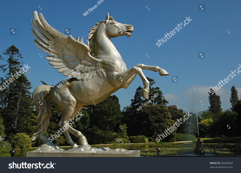 Statue Flying Horse Pegasus Greek Mythology Stock Photo
