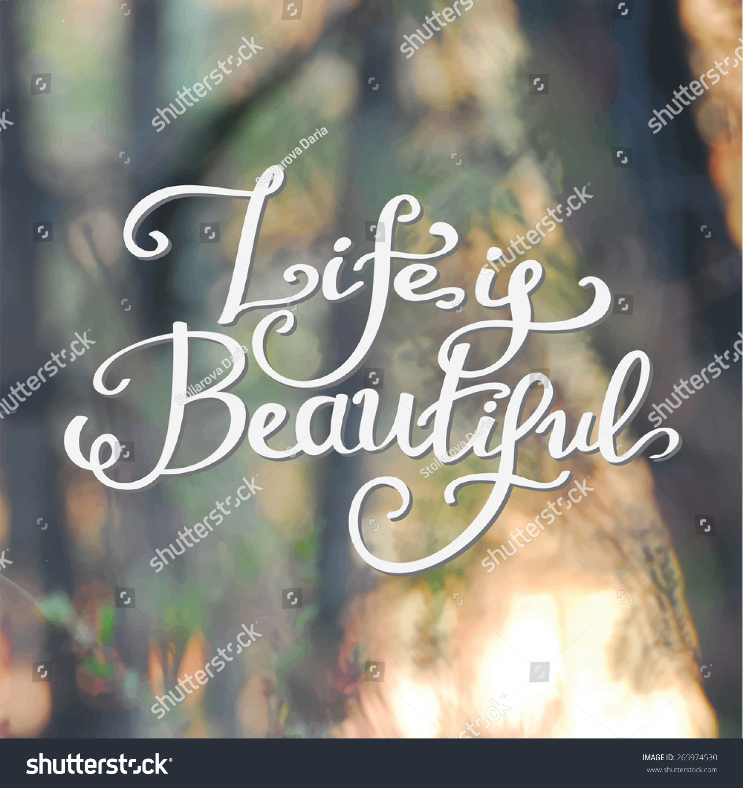 Life Is Beautiful Quotes Life Beautiful Typography Label Lettering Vector Stock Vector