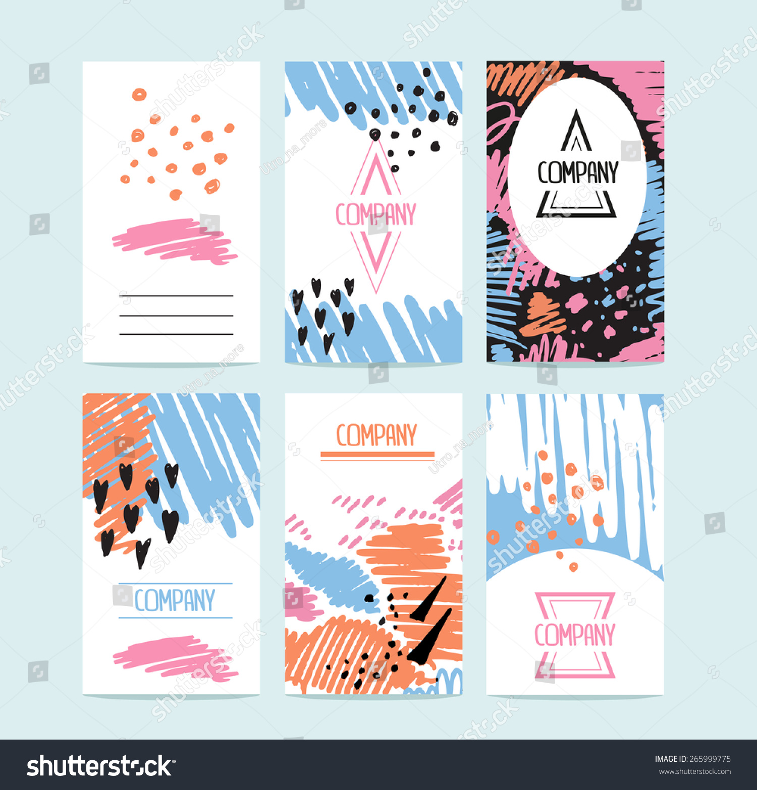 hand drawn 6 cards trendy textures stock vector
