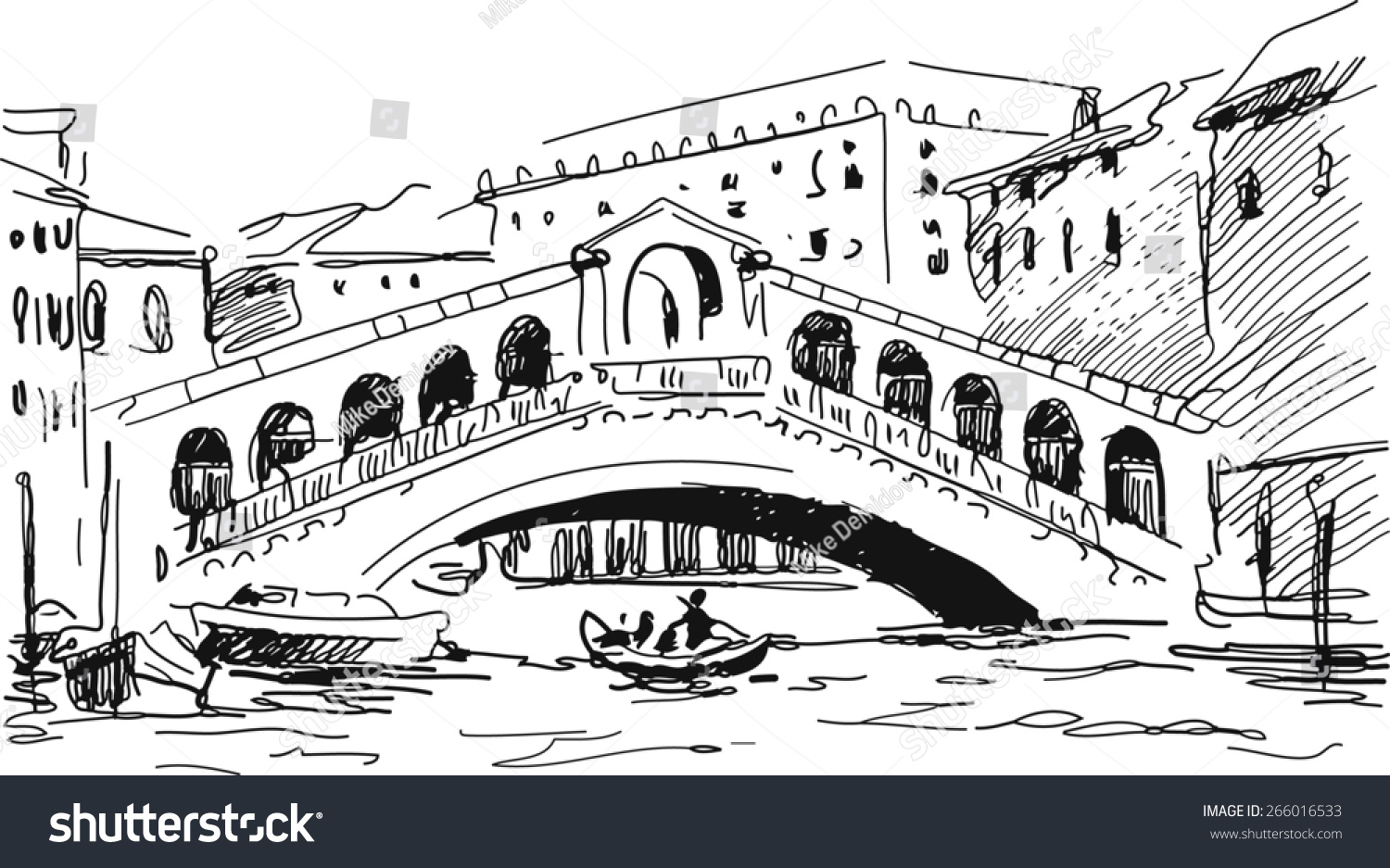 Line Drawing Venice : Ink drawing of the bridge rialto venezia italy