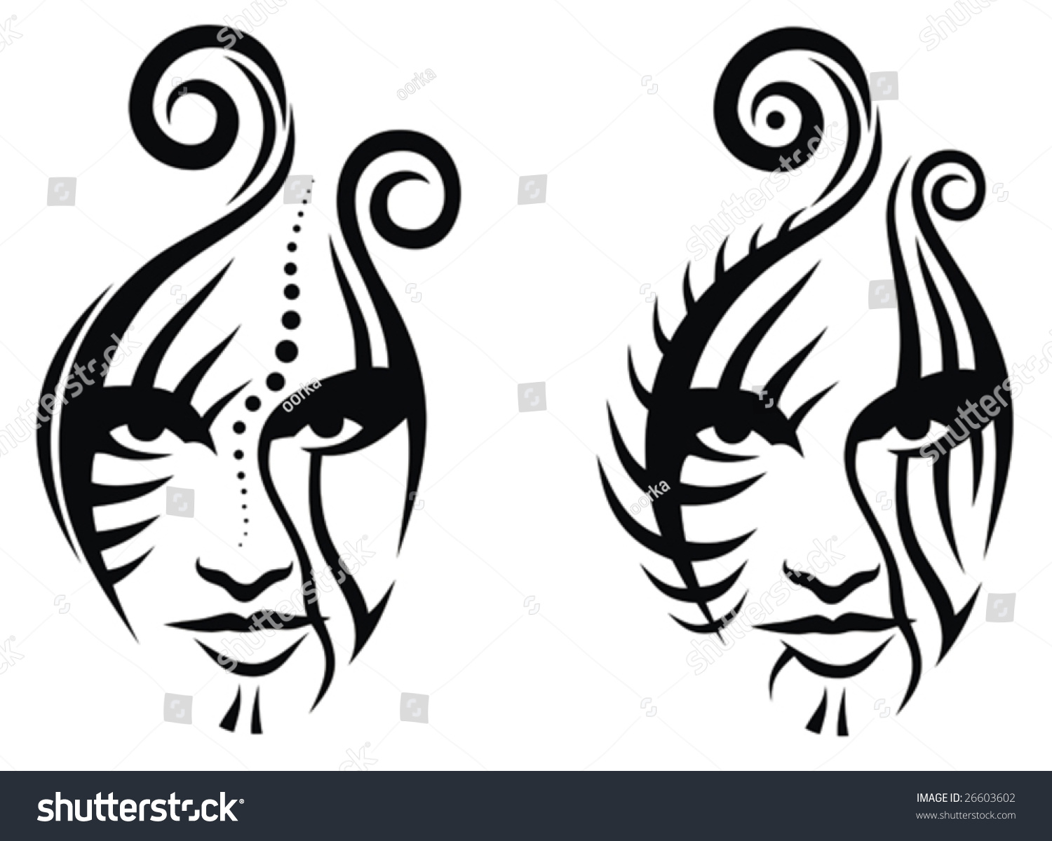 Line Drawing Face Tattoo : Tribal face tattoo stock vector shutterstock