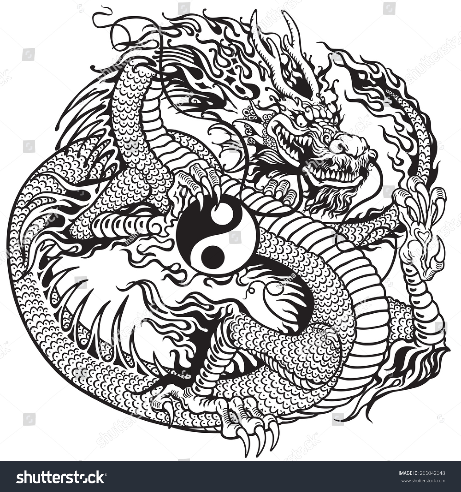 Royalty Free Chinese Dragon Holding Yin Yang Symbol 266042648