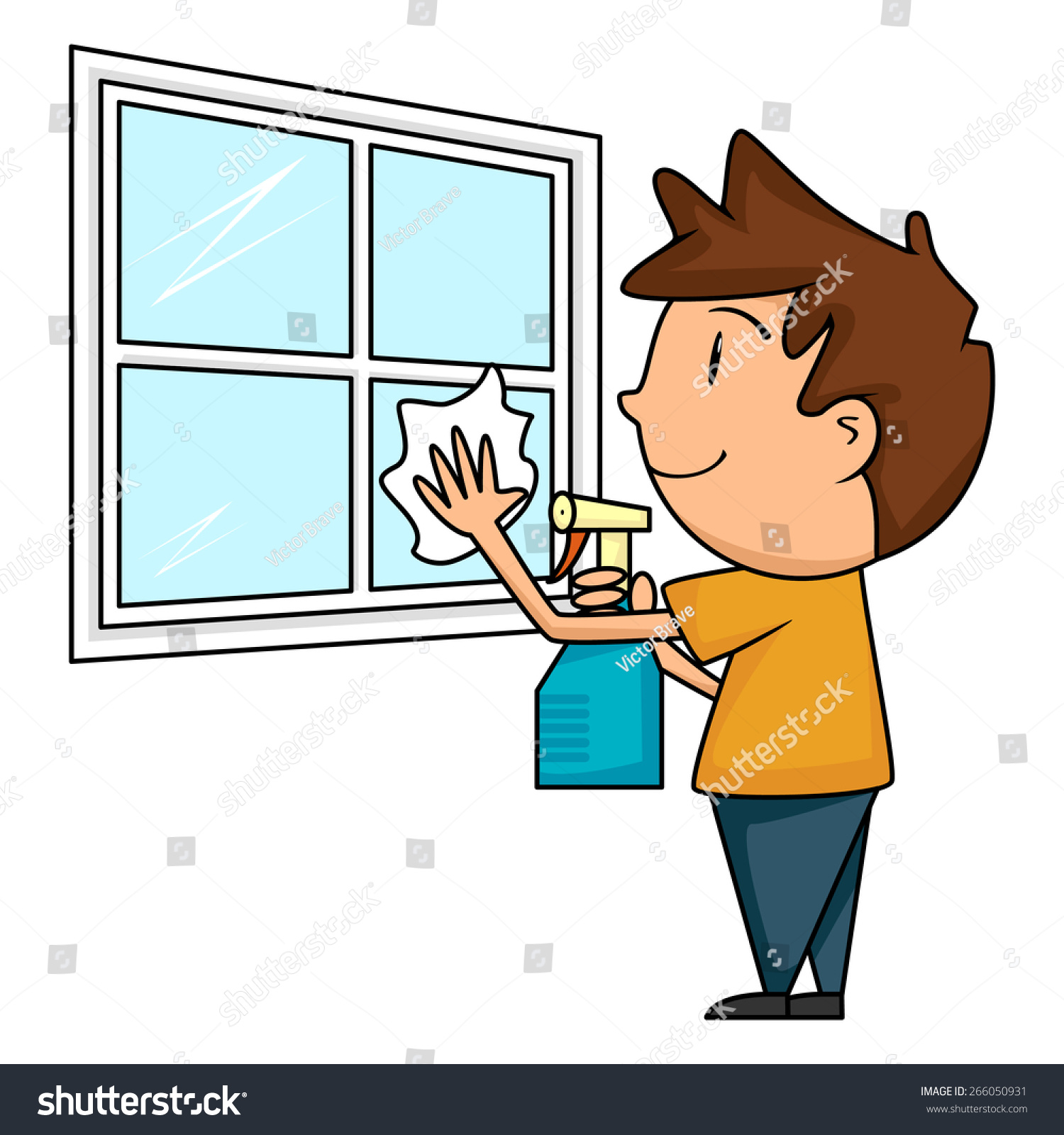 child cleaning window vector illustration stock vector