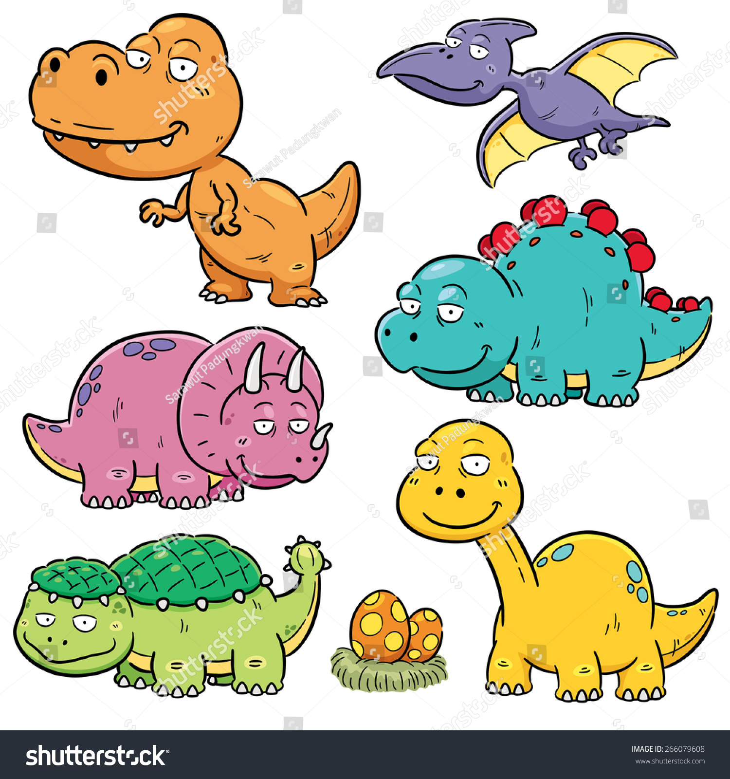 Vector Illustration Dinosaurs Cartoon Characters Stock Vector 266079608