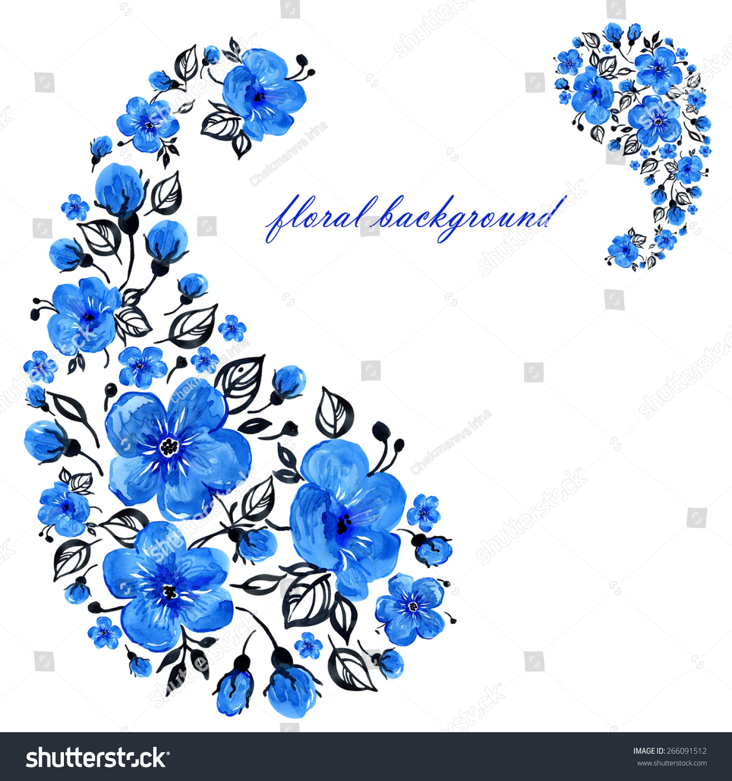 Watercolor Floral Background Beautiful Blue Flowers Stock