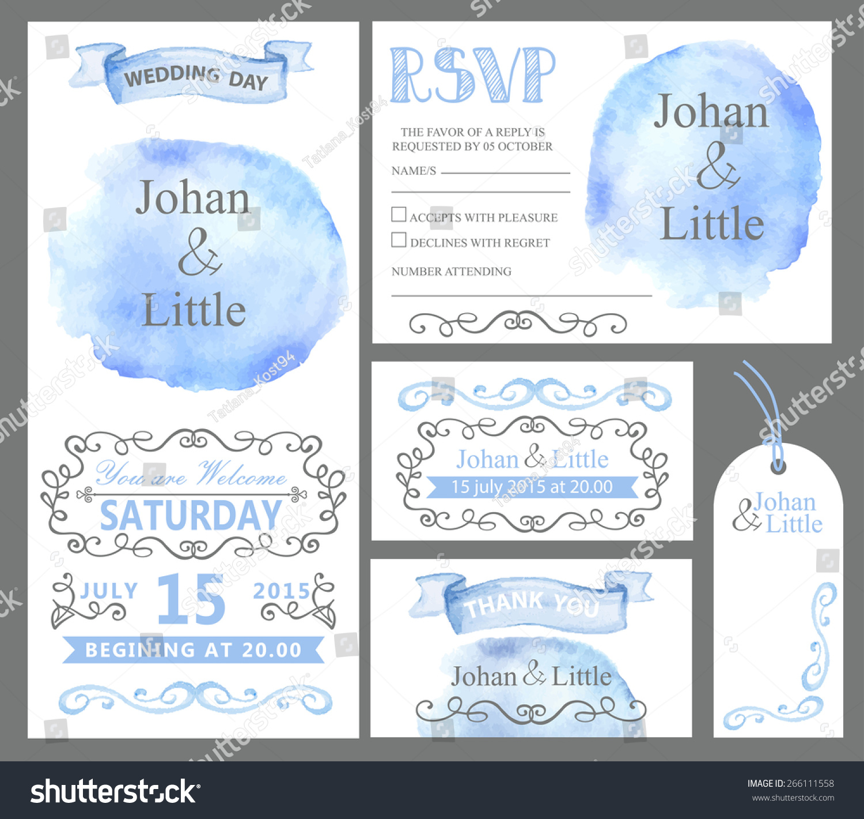 Watercolor wedding invitation card setcyan sky stock vector watercolor wedding invitation card setan sky steinribbonsgrey swirling borders sciox Choice Image