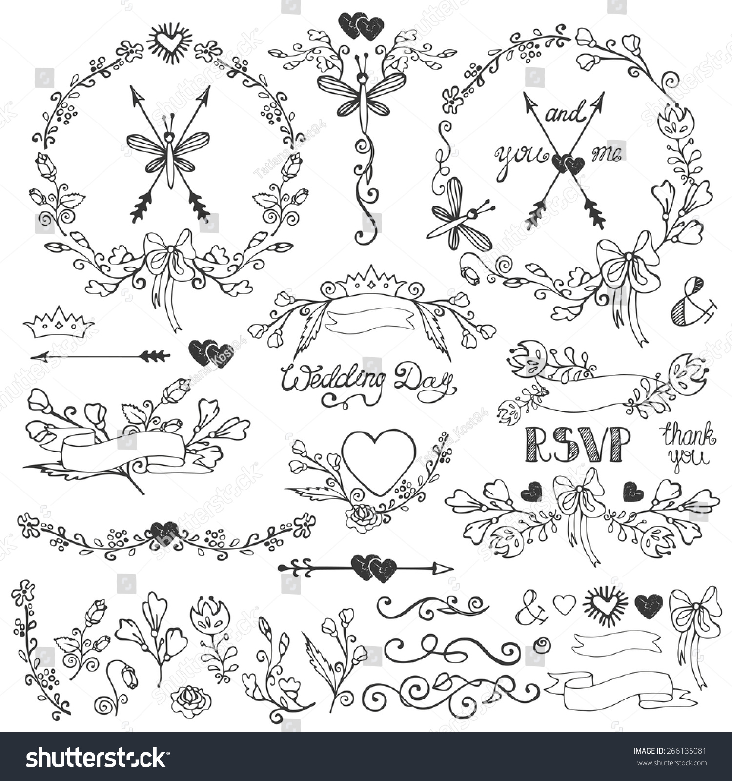 wedding doodles floral decor elements setswirling stock vector