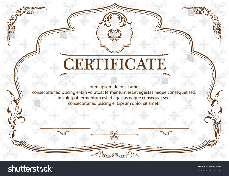 Certificate Template Thai Art Certificate Design Stock Vector