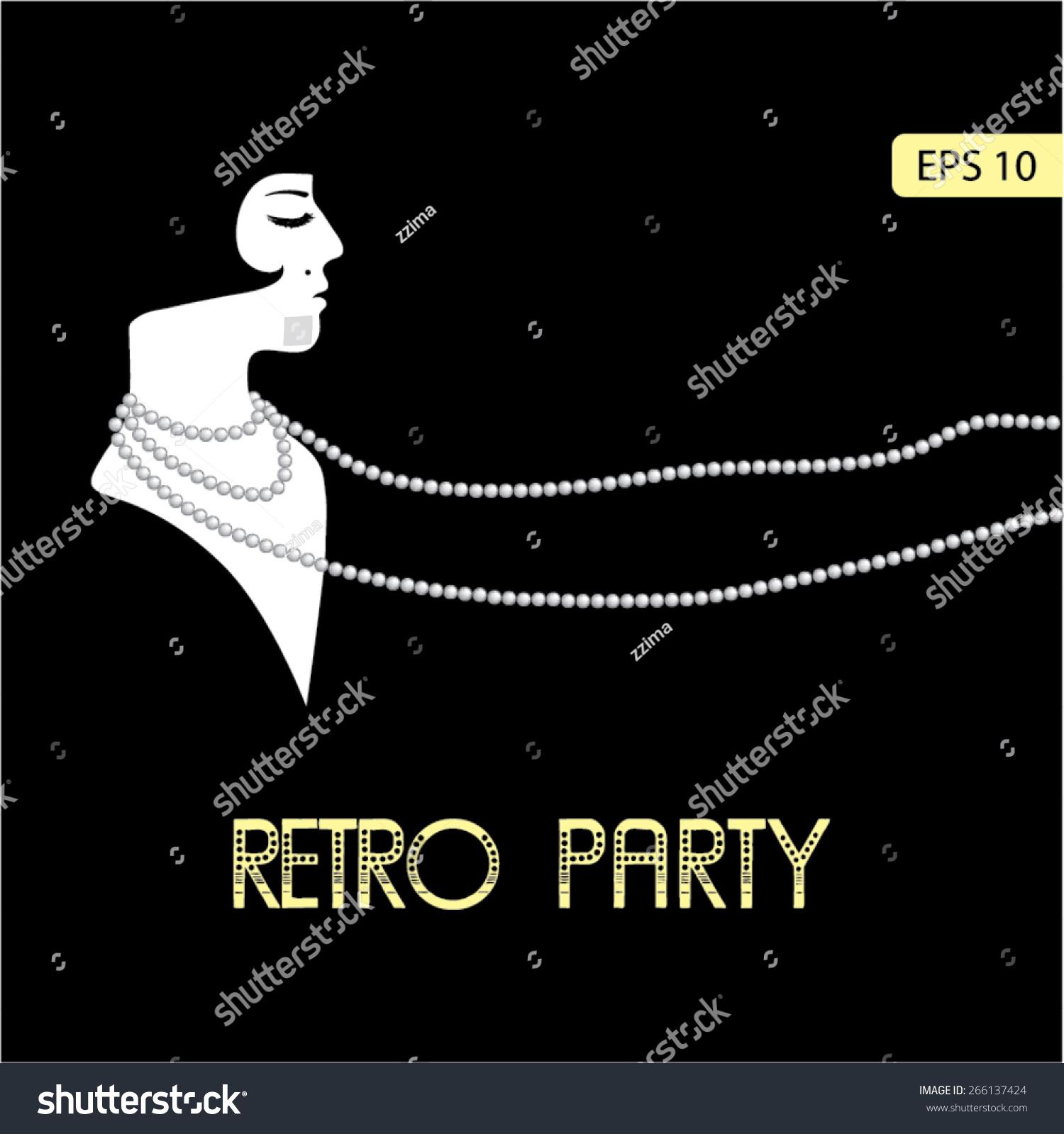 Flapper Girl Retro Party Invitation Design Stock Vector 266137424 ...