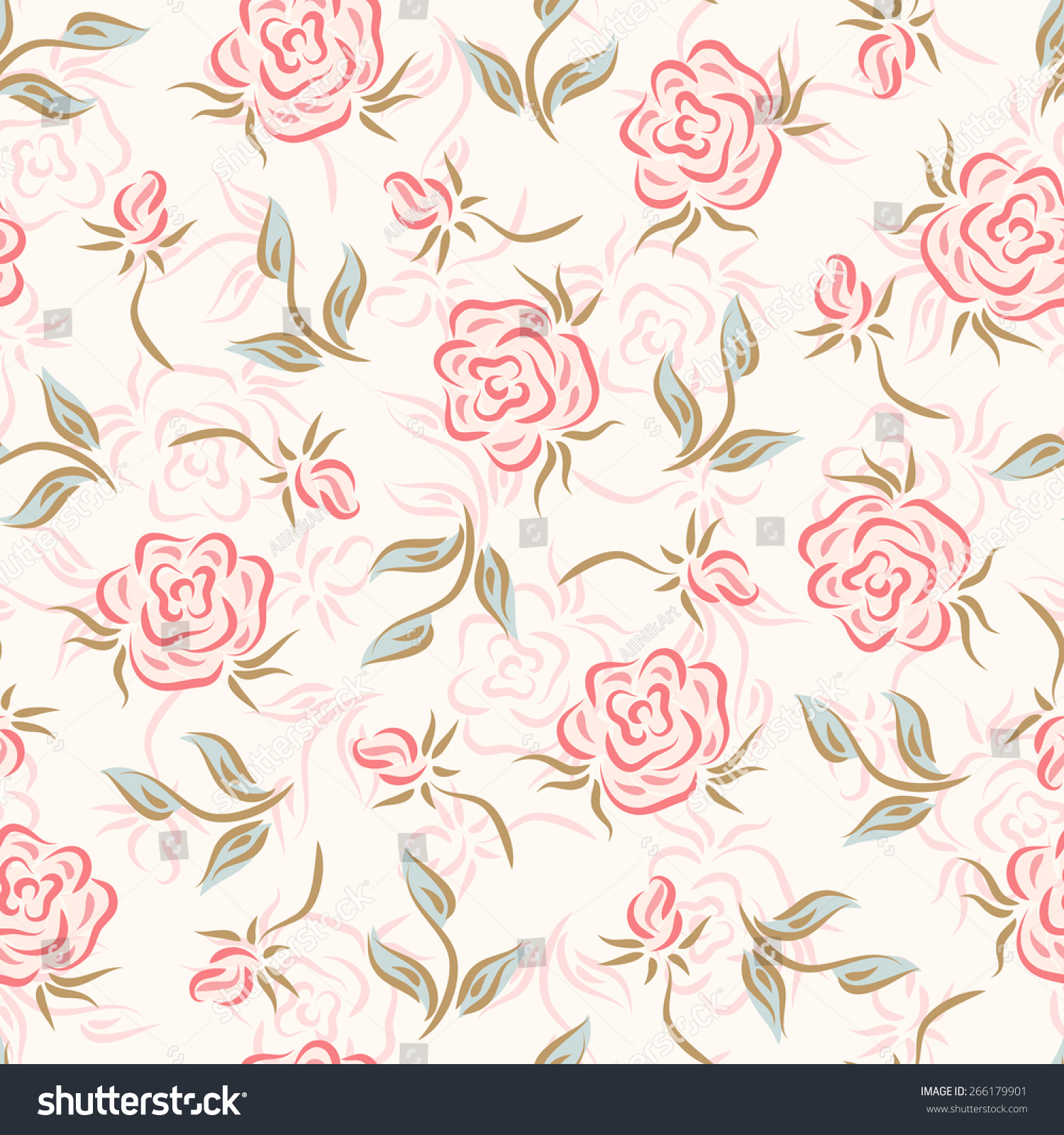Flowers Floral Seamless Pattern Roses Light Vintage Backgrounds
