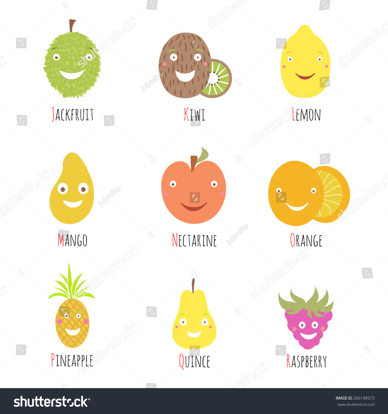 fruits that start with the letter a vector set alphabet fruits berries letters stock vector 21910