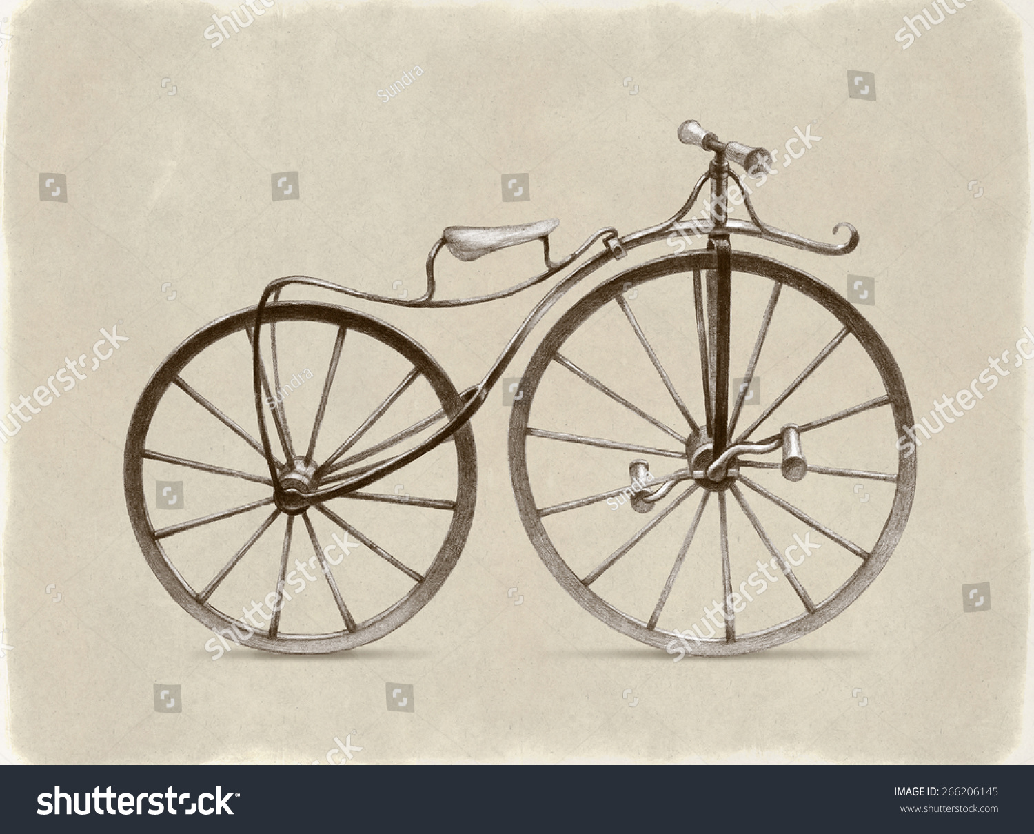 Pencil drawing retro bicycle stock illustration 266206145