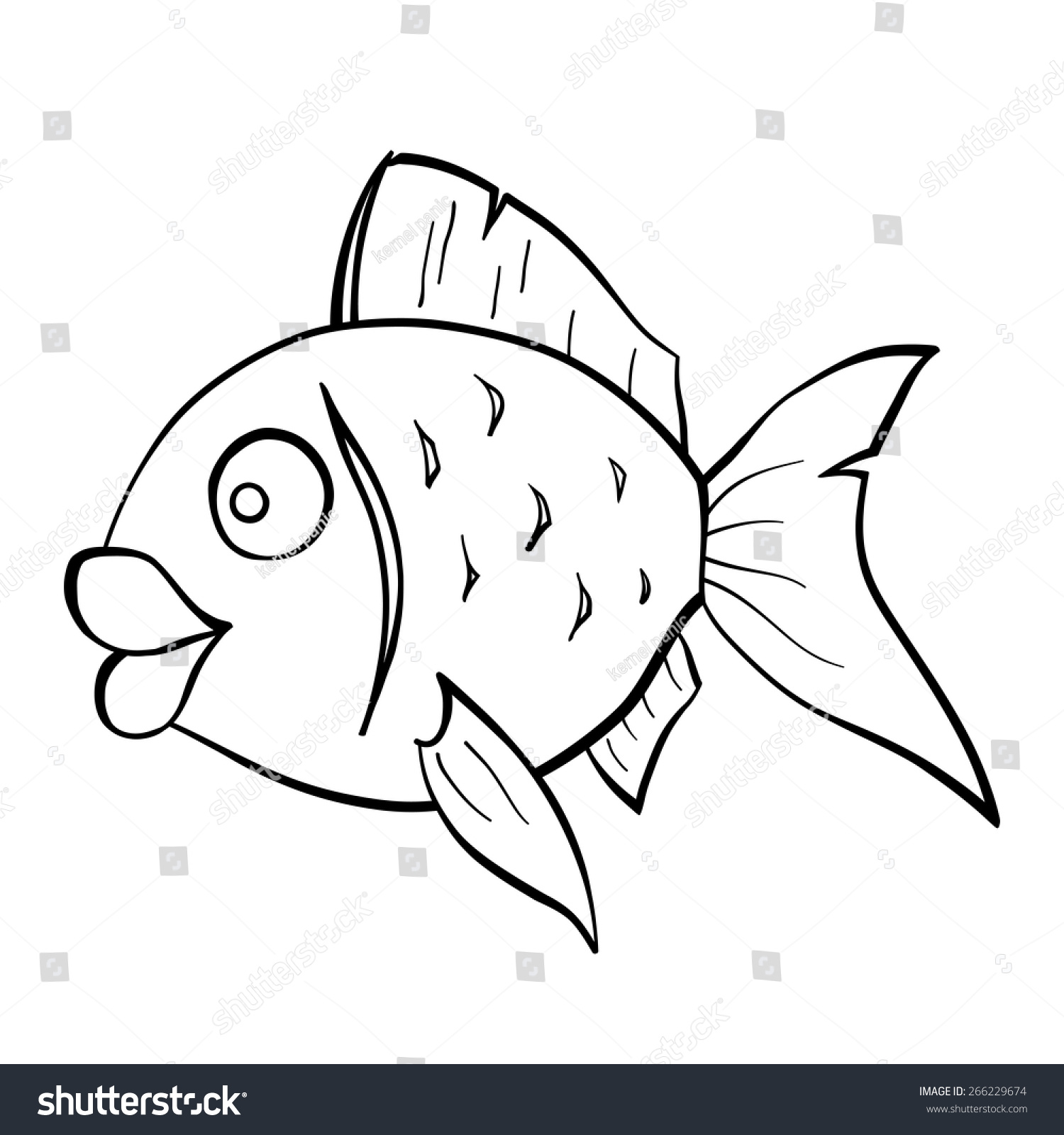 Black White Sketch Cartoon Goldfish Stock Vector 266229674 ...