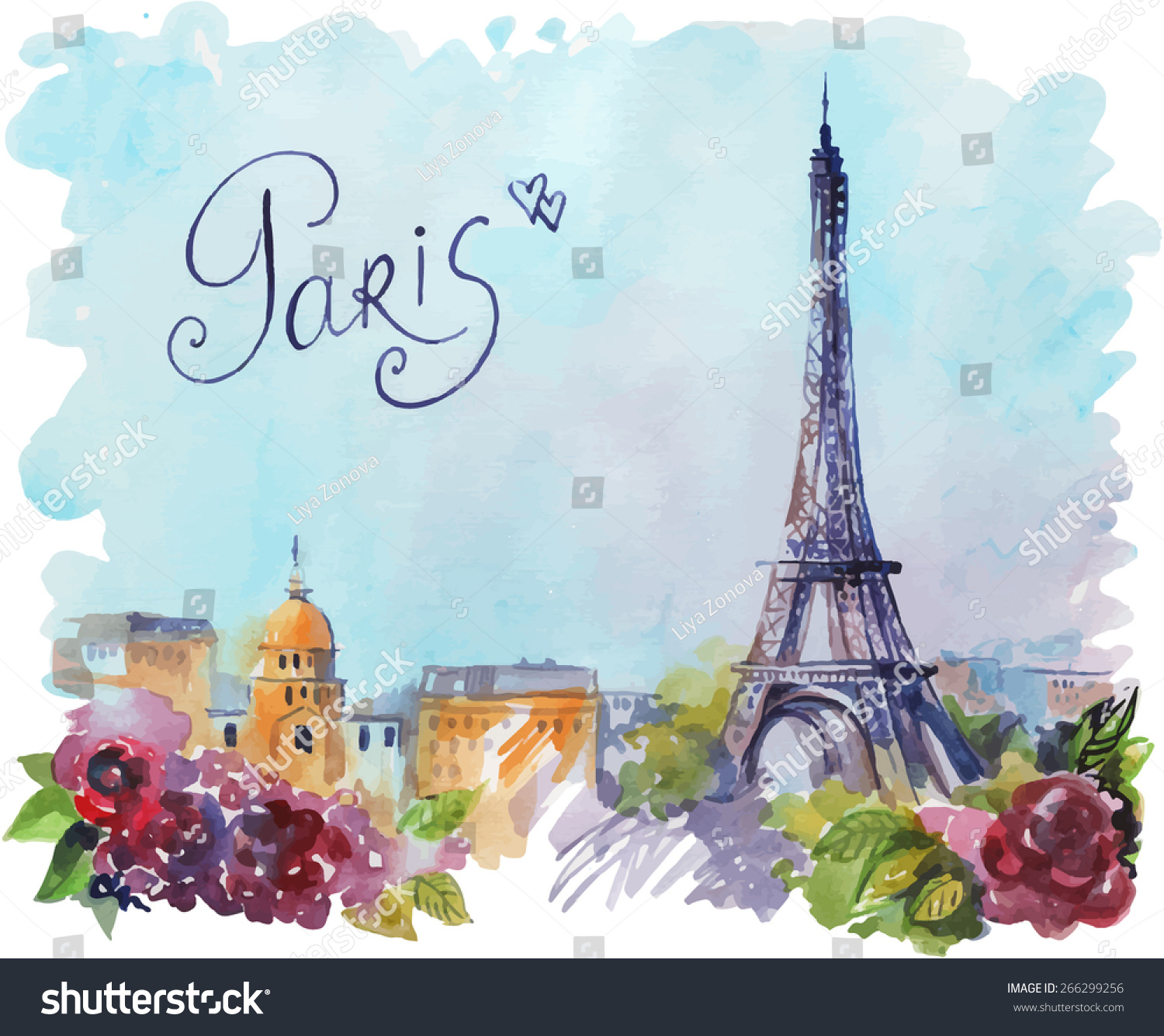 Paris Illustration: Vector Drawing By Hand On Wright Stock Vector 266299256