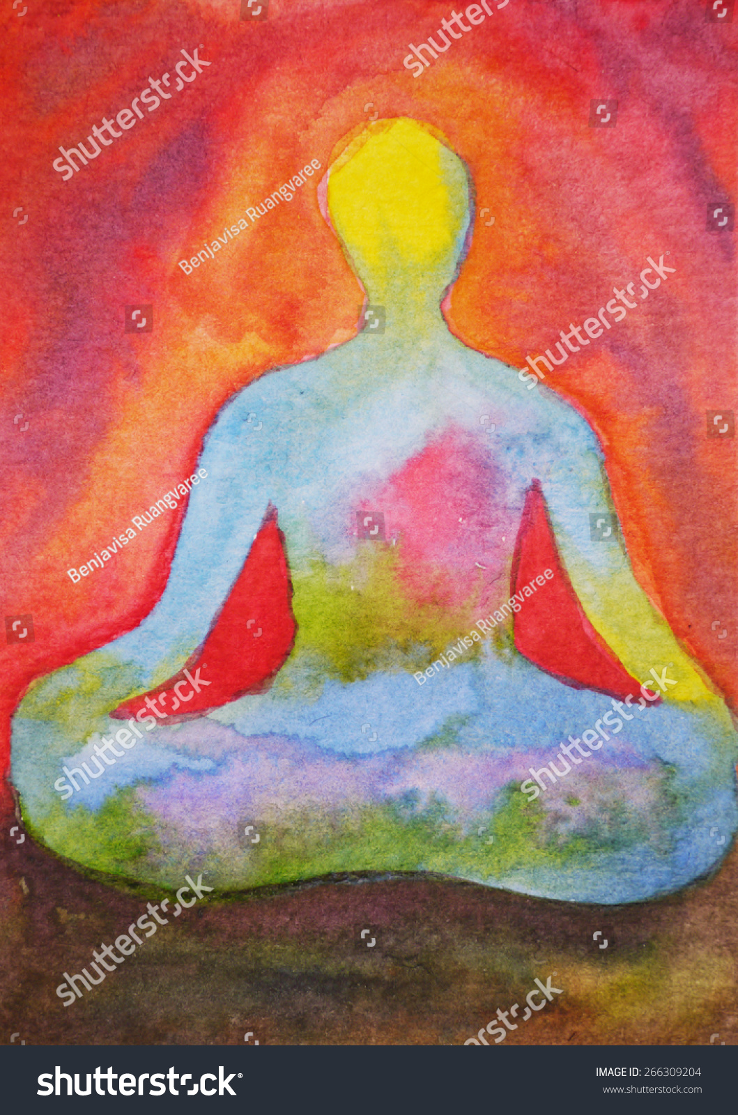 Lotus pose yoga watercolor painting abstract aura power full background