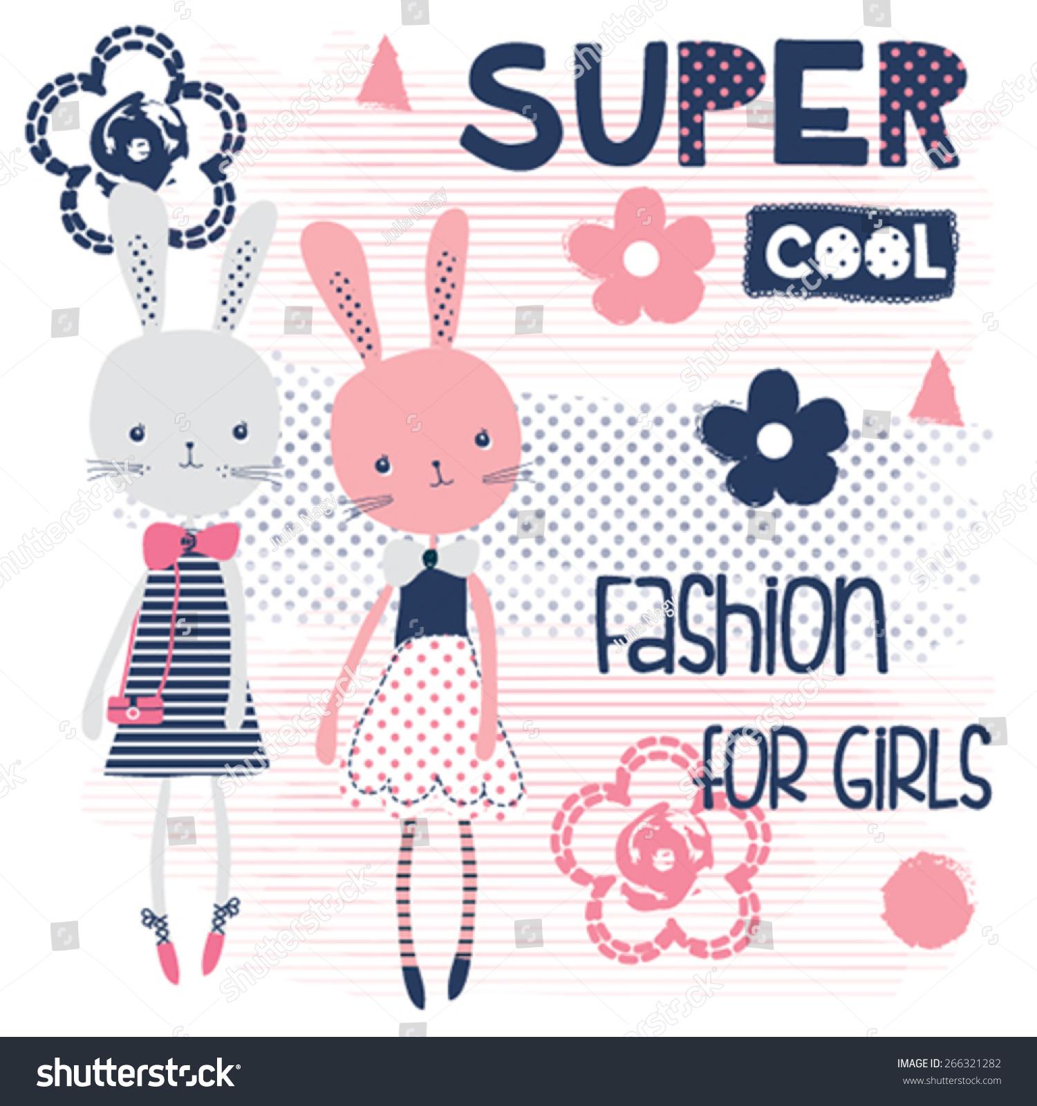 Shirt design in girl - Cute Bunny Girls Fashion For Girls T Shirt Design Vector Illustration Stock Vector