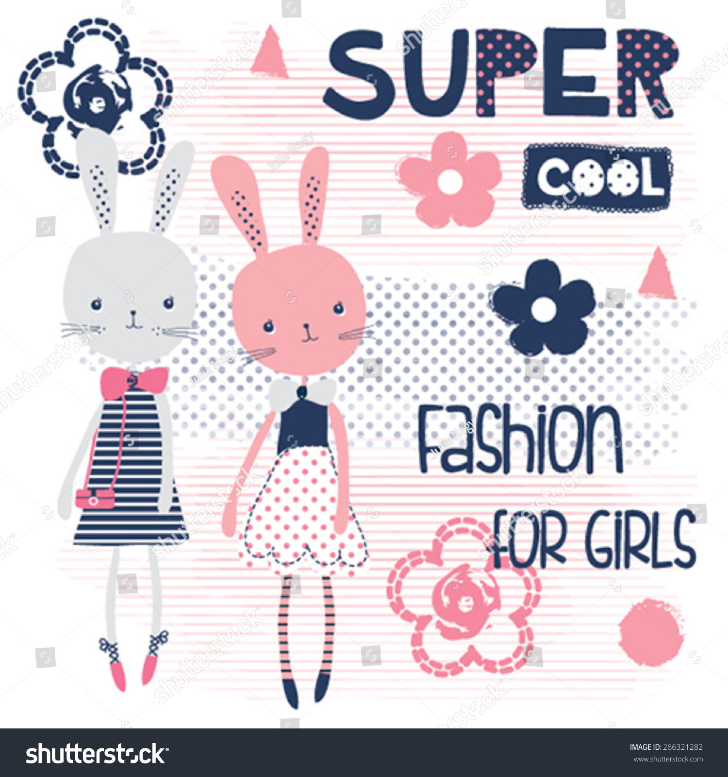 Design t shirt girl - Cute Bunny Girls Fashion For Girls T Shirt Design Vector Illustration