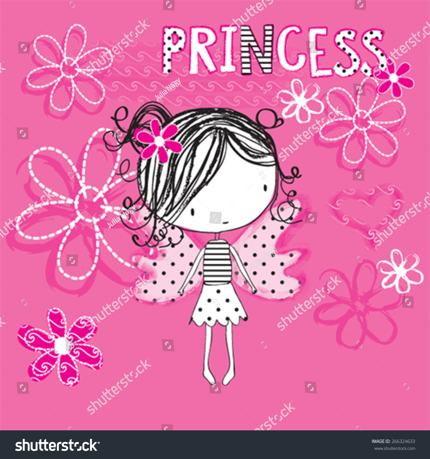 Shirt design in girl - Cute Princess Girl Butterfly Girl T Shirt Design Vector Illustration