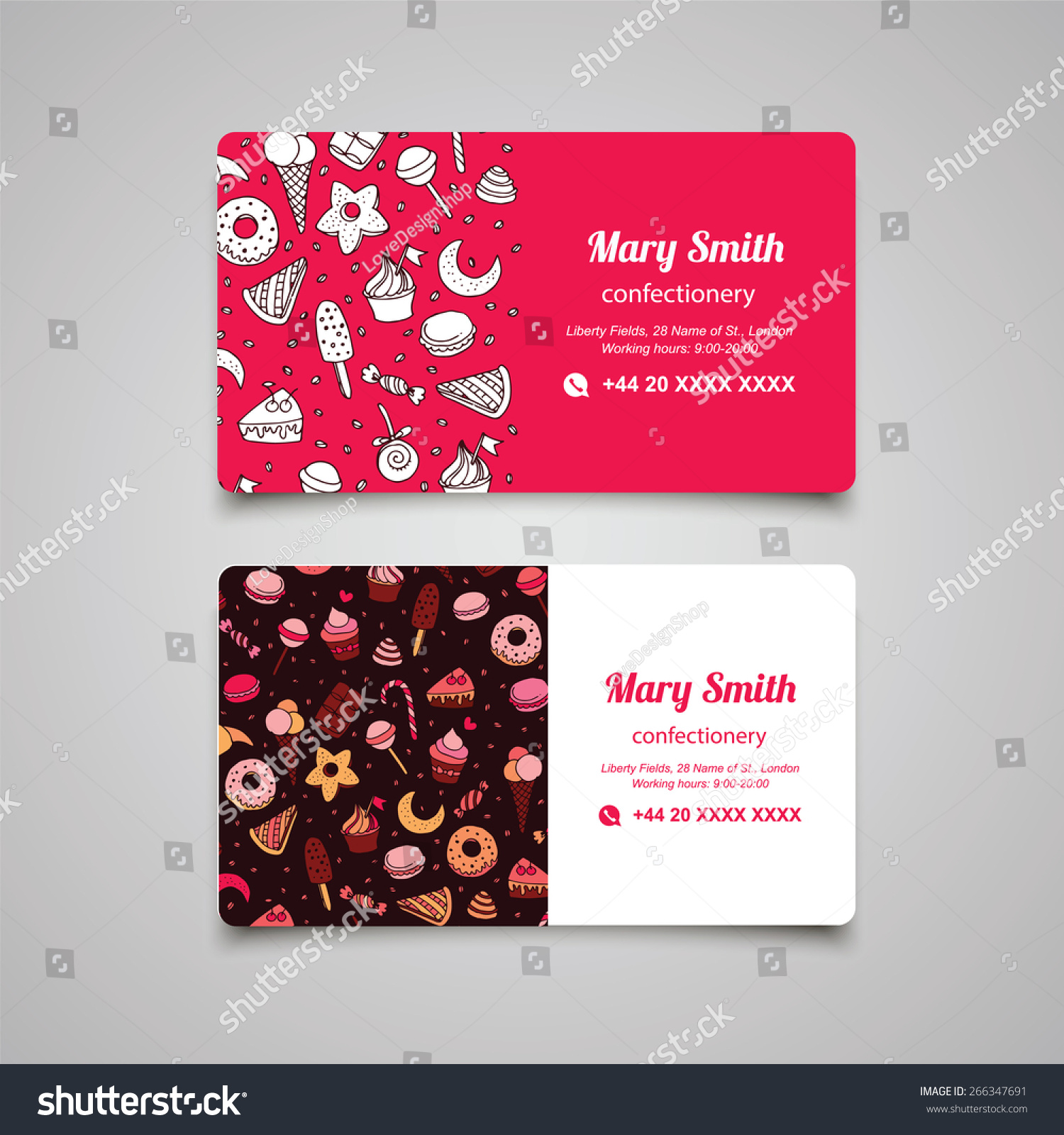 Confectionery Business Card Sweets Pattern Stock Vector 266347691 ...