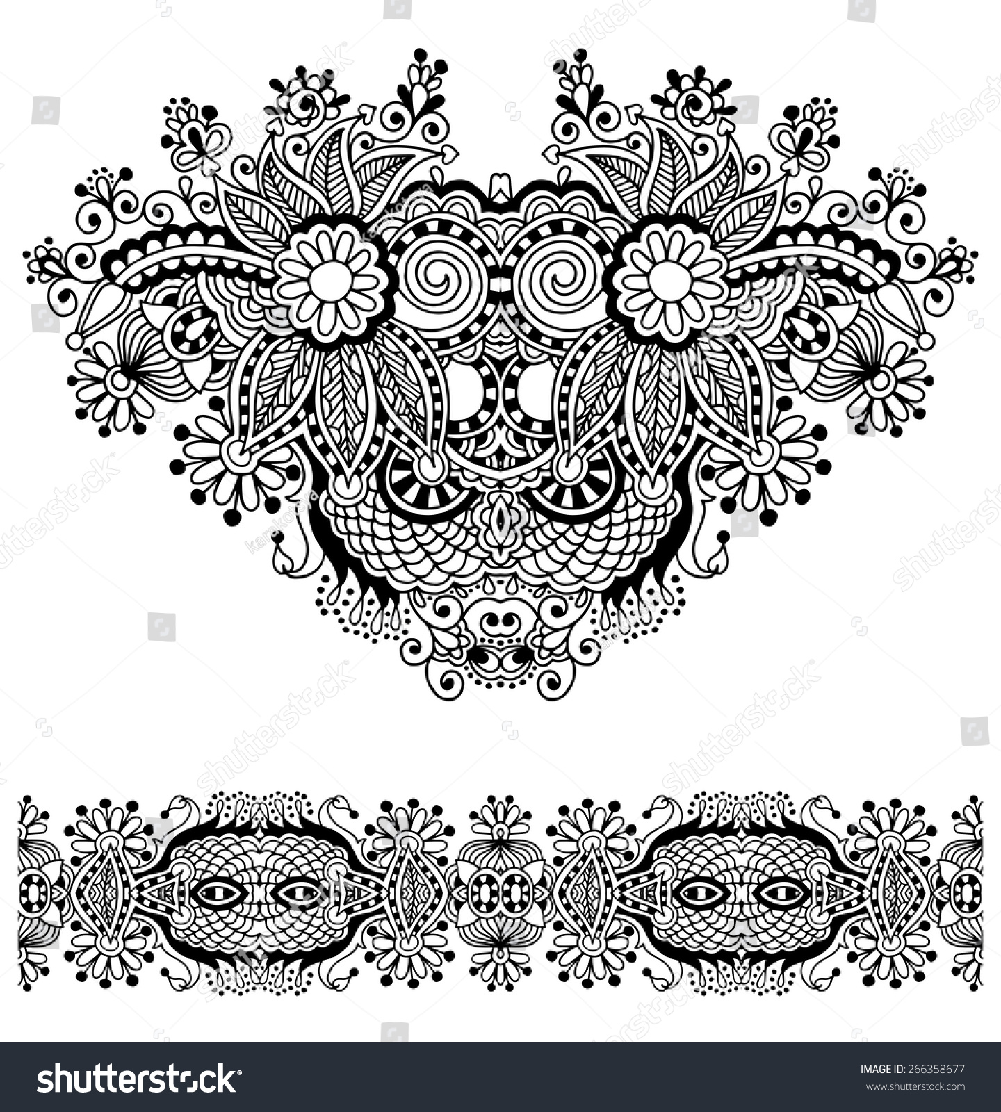 Neckline Ornate Floral Paisley Embroidery Fashion Stock Vector Royalty Free 266358677