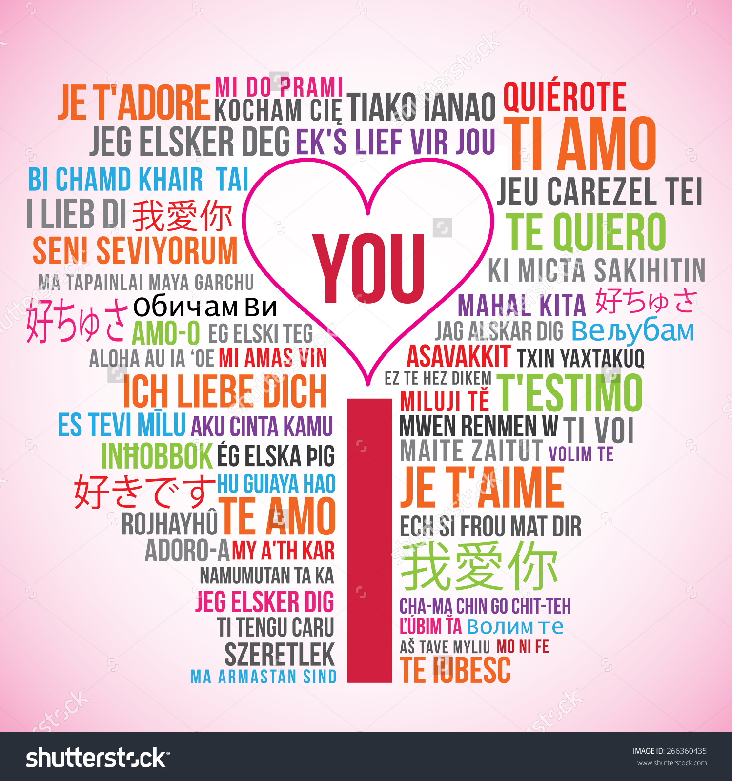 I love you translation word cloud with a pink heart. Preview. Save to a lightbox