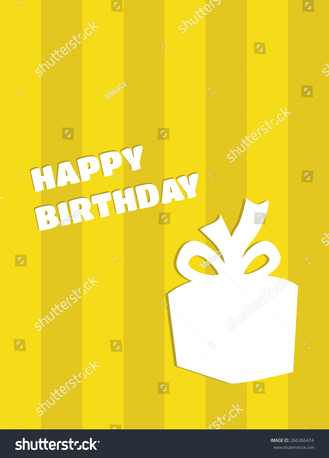 Vector Cute Simple Happy Birthday Card With Gift Silhouette On Yellow Background Horizontal Lines