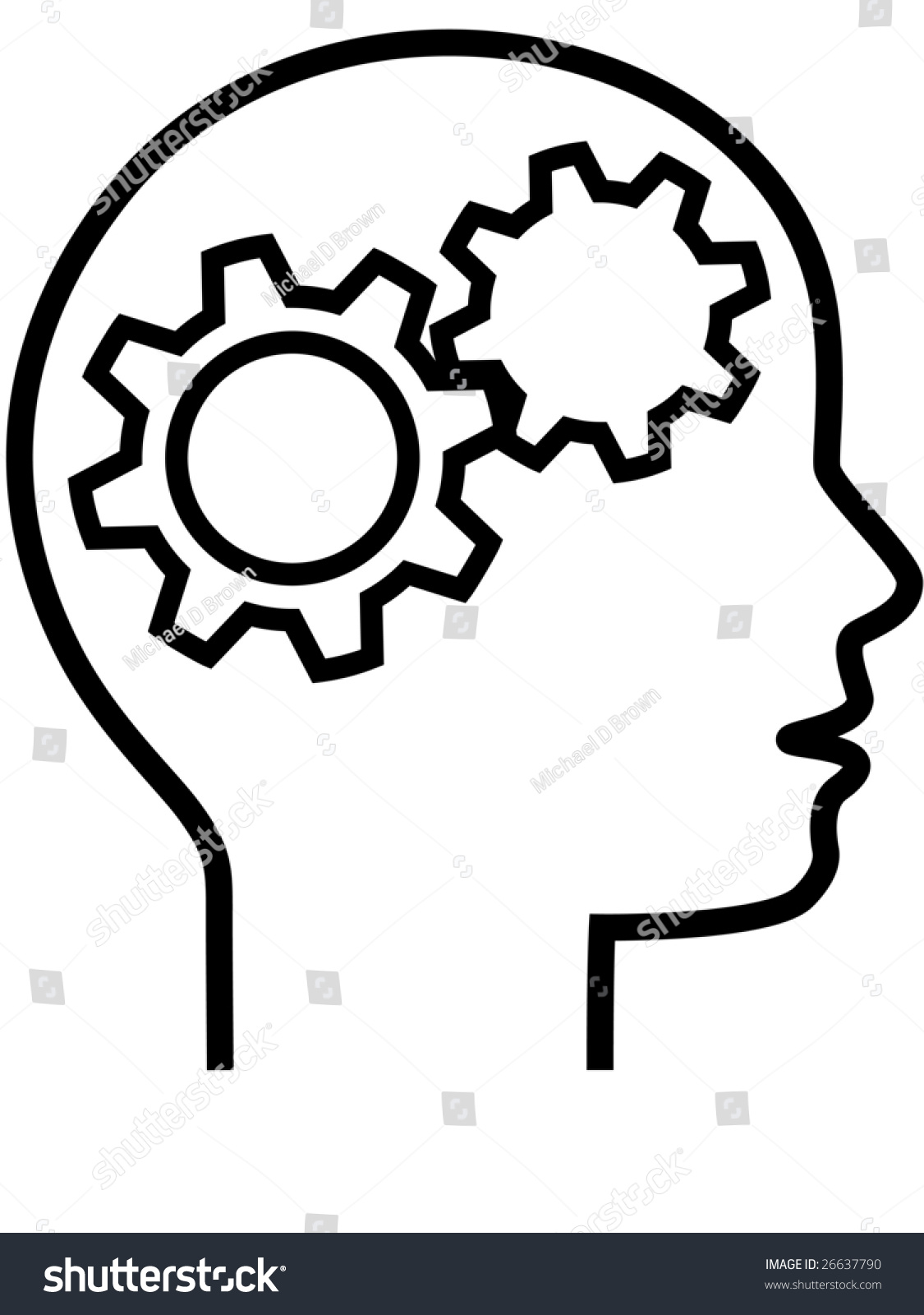 thinker inventor gear head brain 2 stock illustration 26637790 rh shutterstock com think clip art images thinker man clipart