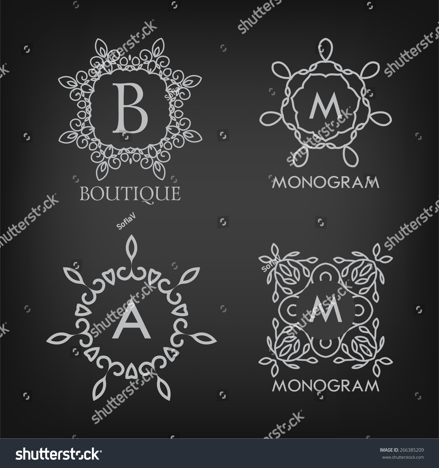 set luxury simple elegant monogram designs stock vector royalty