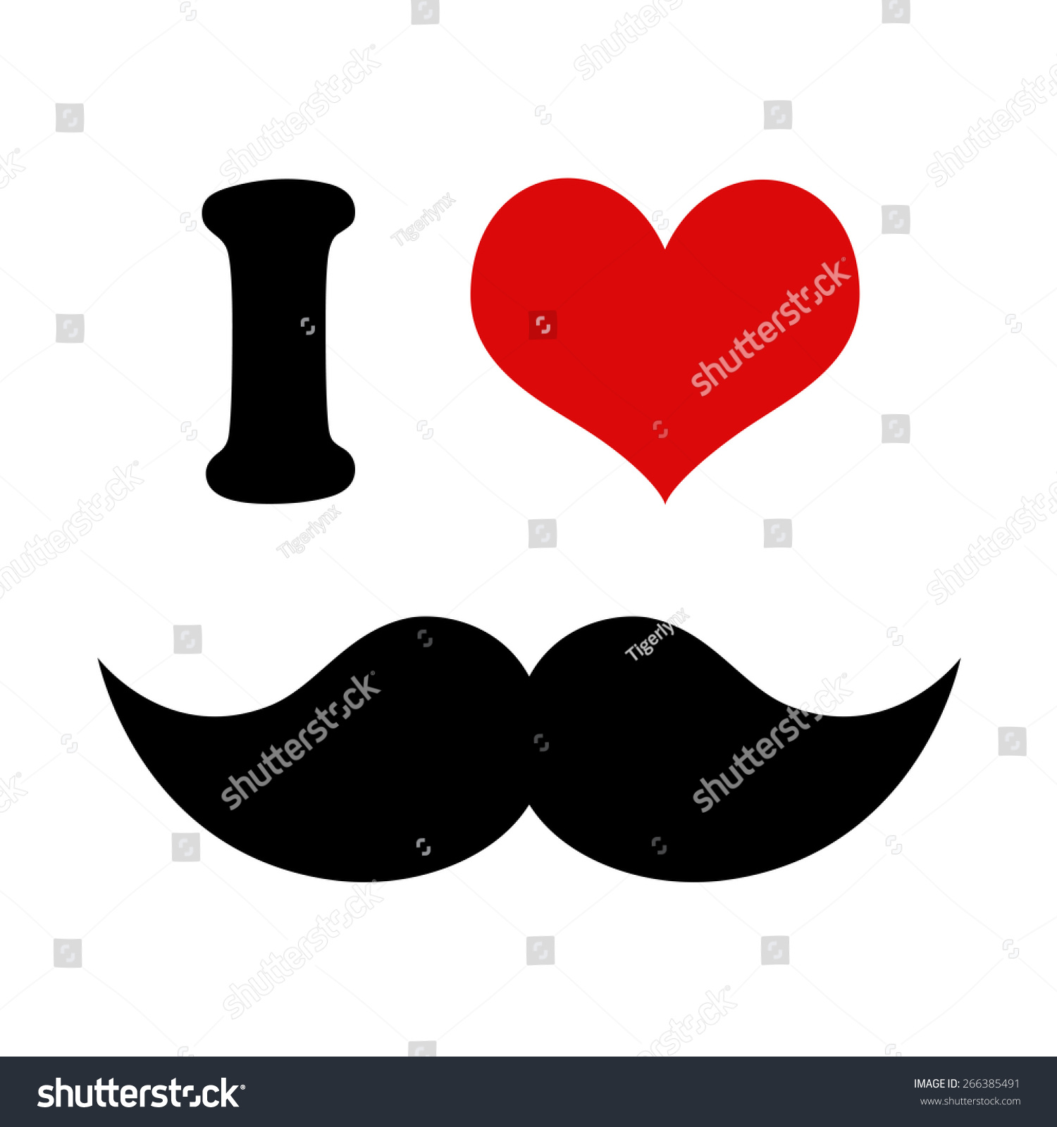 Heart Love Mustaches Graphic Black Mustache Stock Illustration
