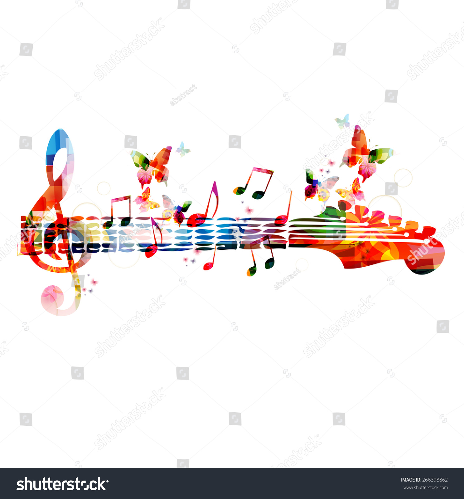 Colorful Music Design With Butterflies Stock Vector ...