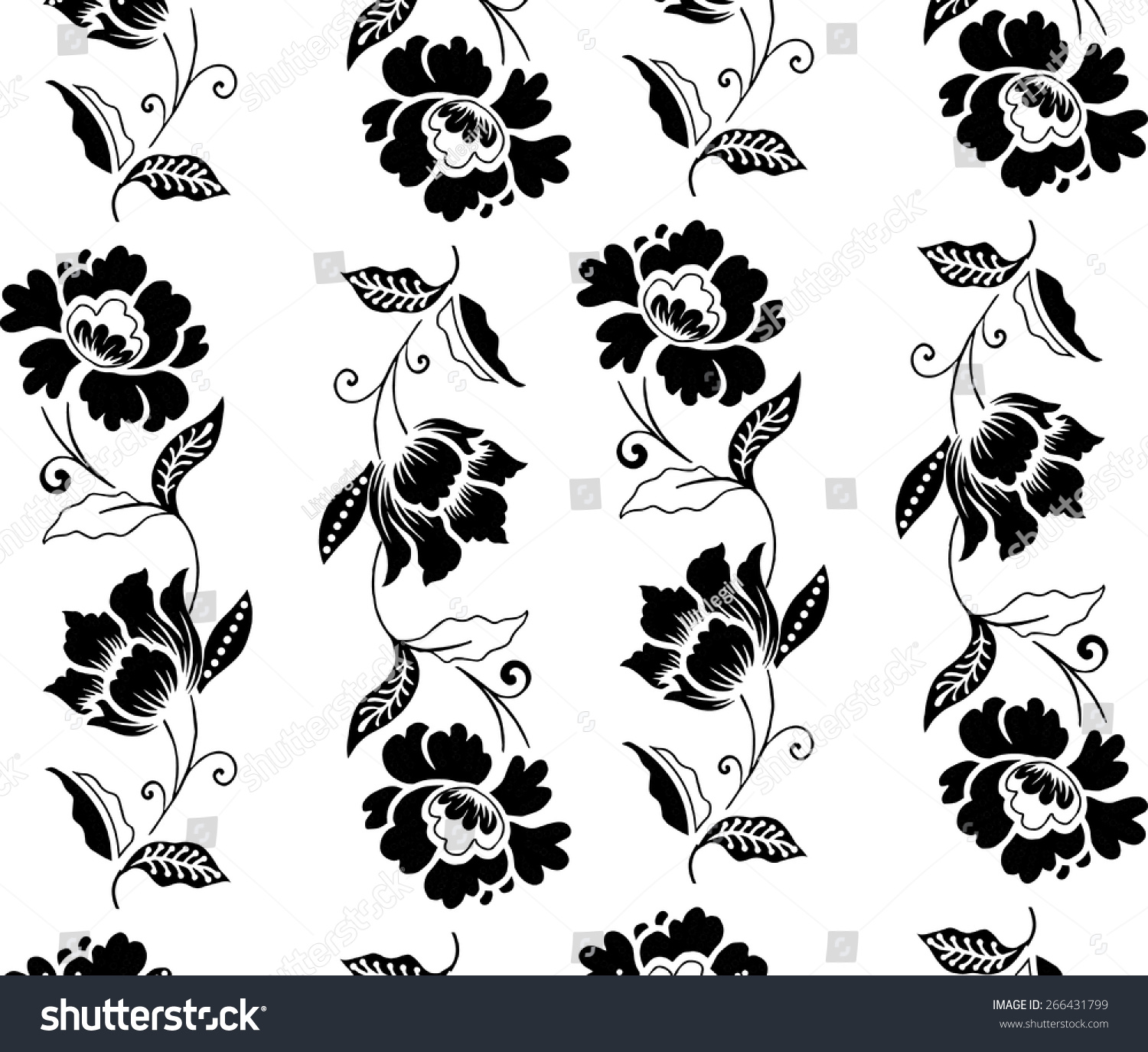 Vector Batik Design Black Flowers Stock Vector 266431799