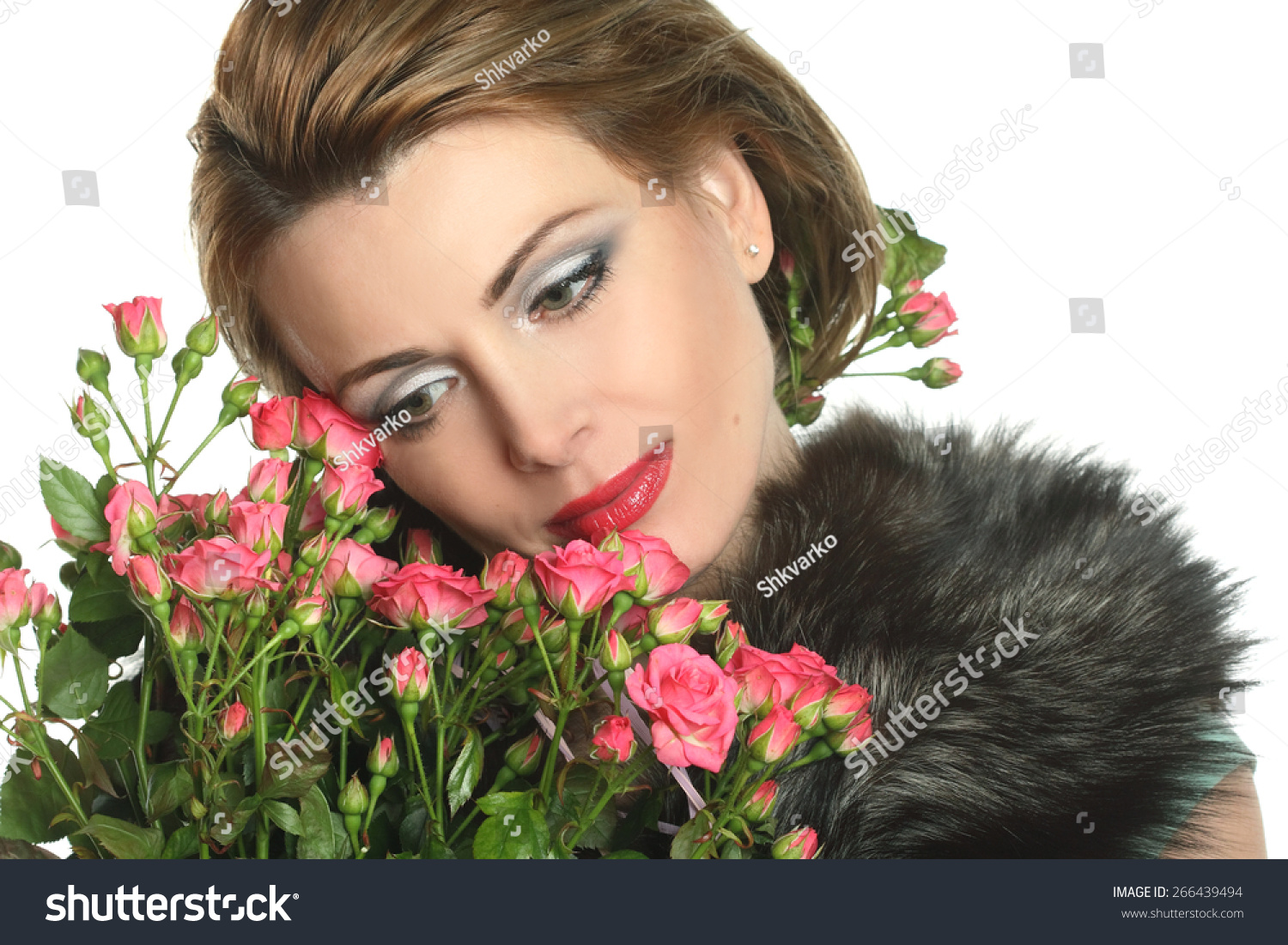 Young beautiful woman with flowers on a white background stylish id 266439494 izmirmasajfo
