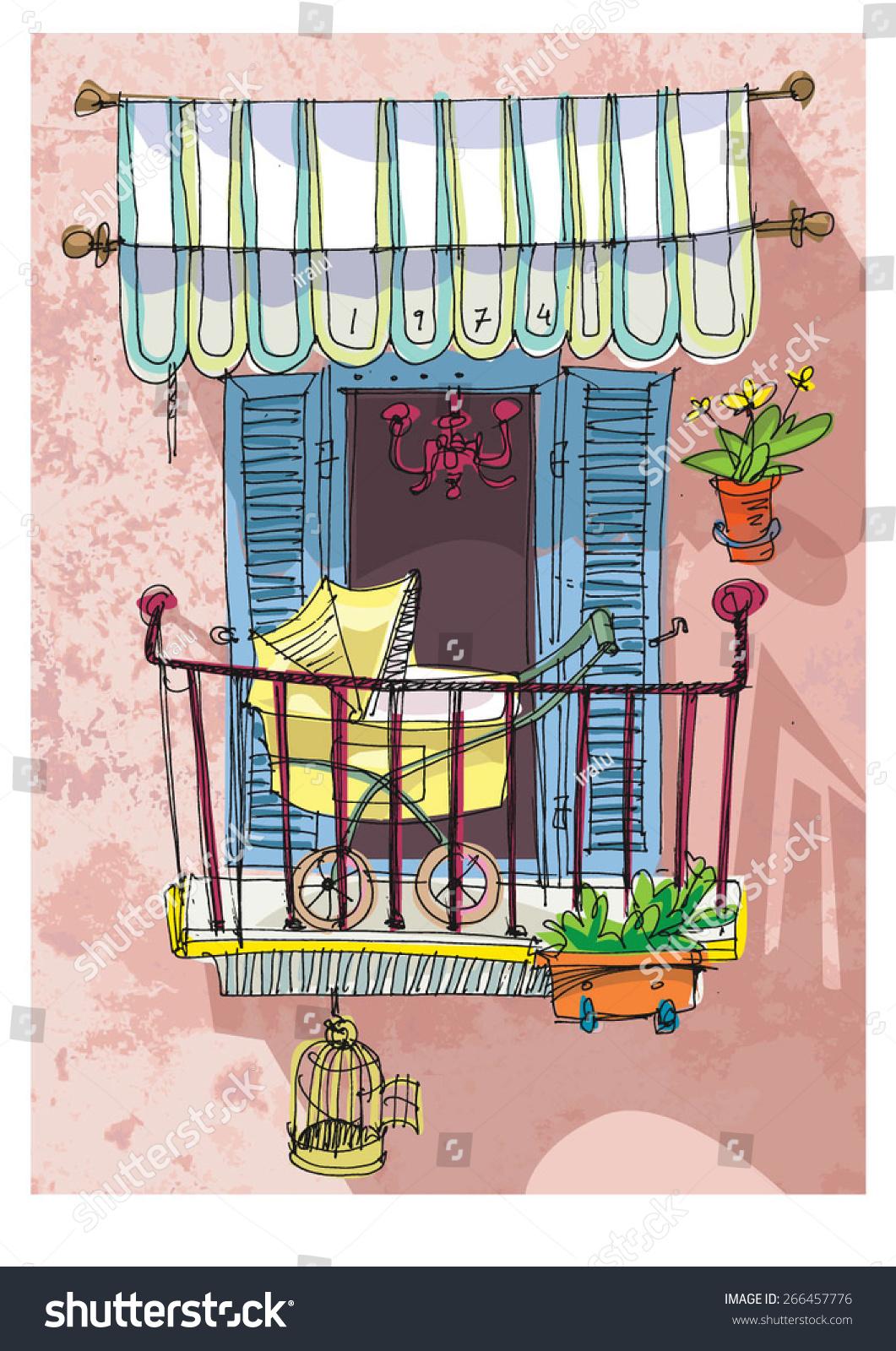 Cute balcony cartoon stock vector 266457776 shutterstock for Balcony cartoon