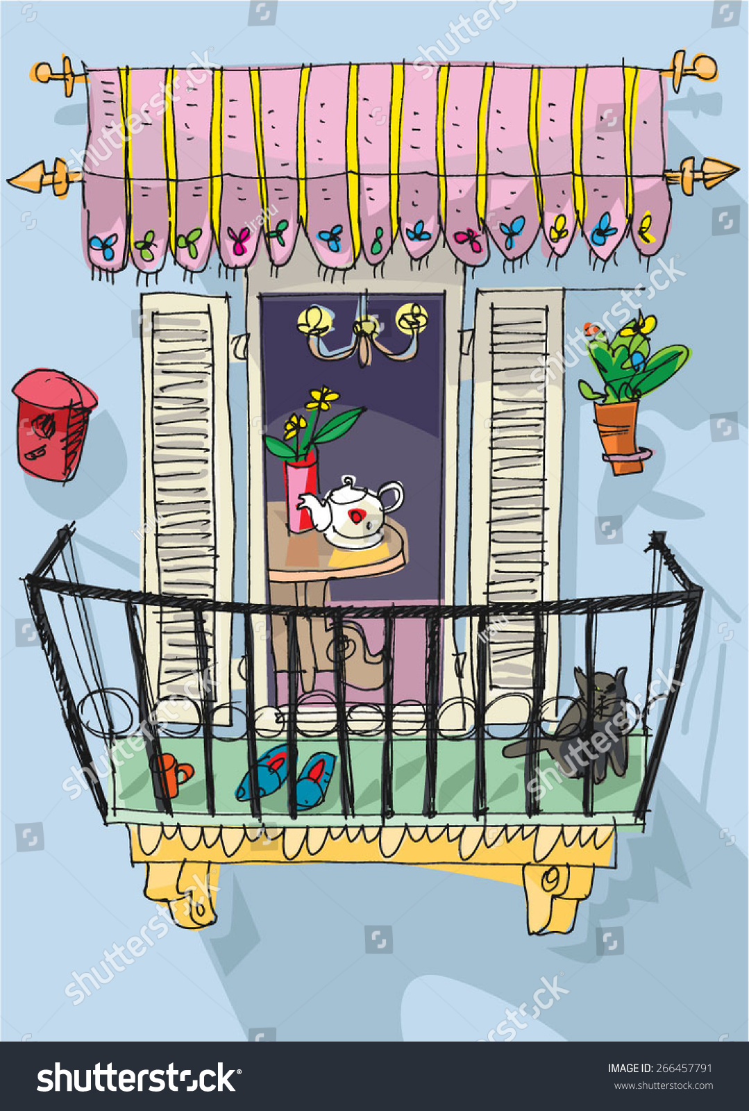 Cute balcony cartoon stock vector 266457791 shutterstock for Balcony clipart