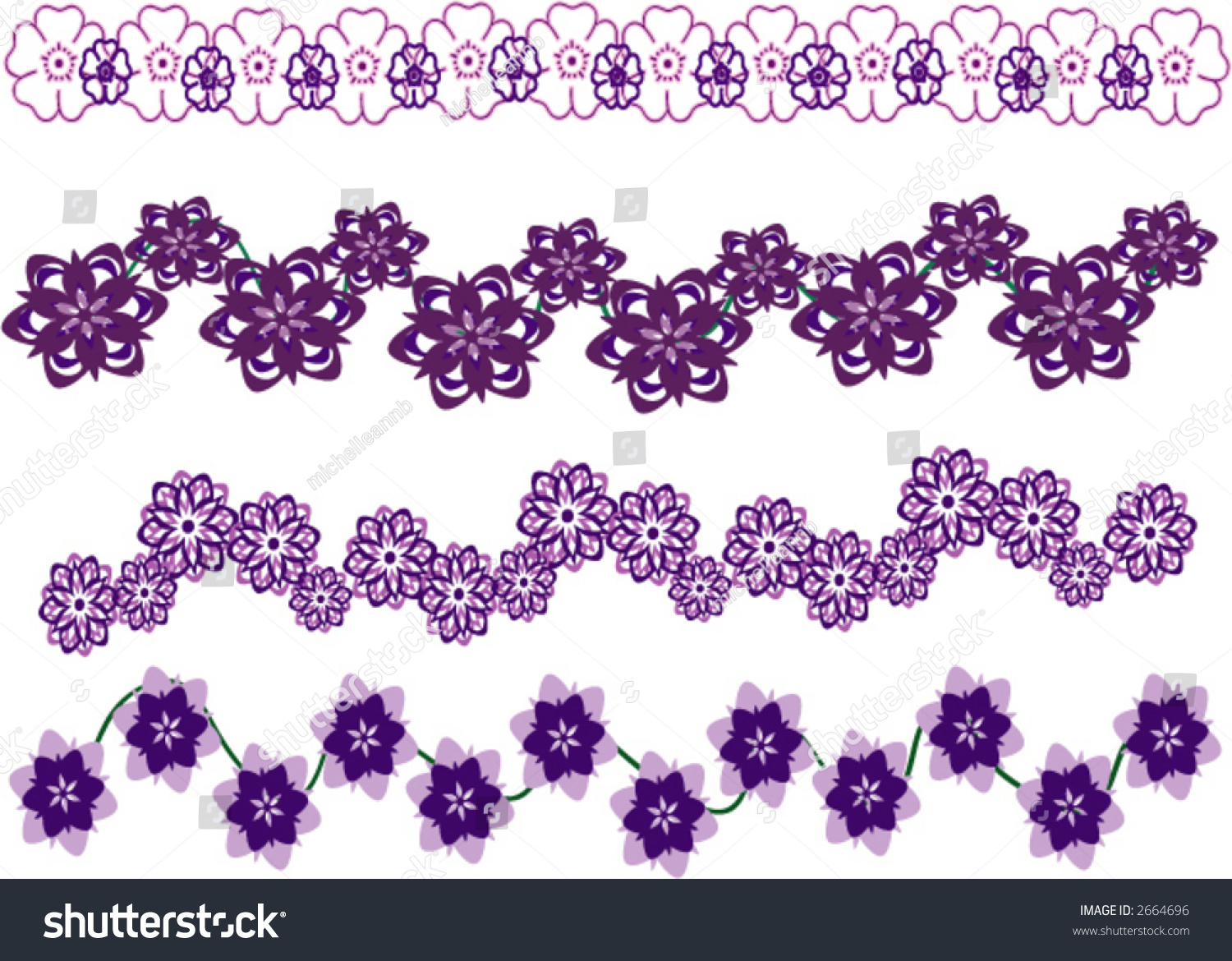floral border purple and lavender