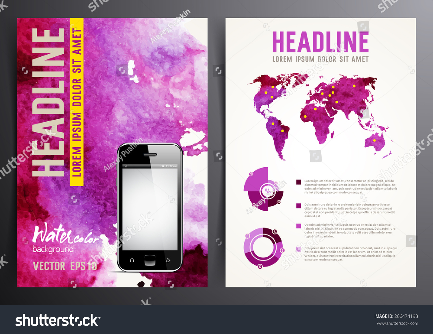 Elements of a poster design - Brochure Flyer Poster Design Template Infographic Elements Abstract Watercolor Background For Your Design
