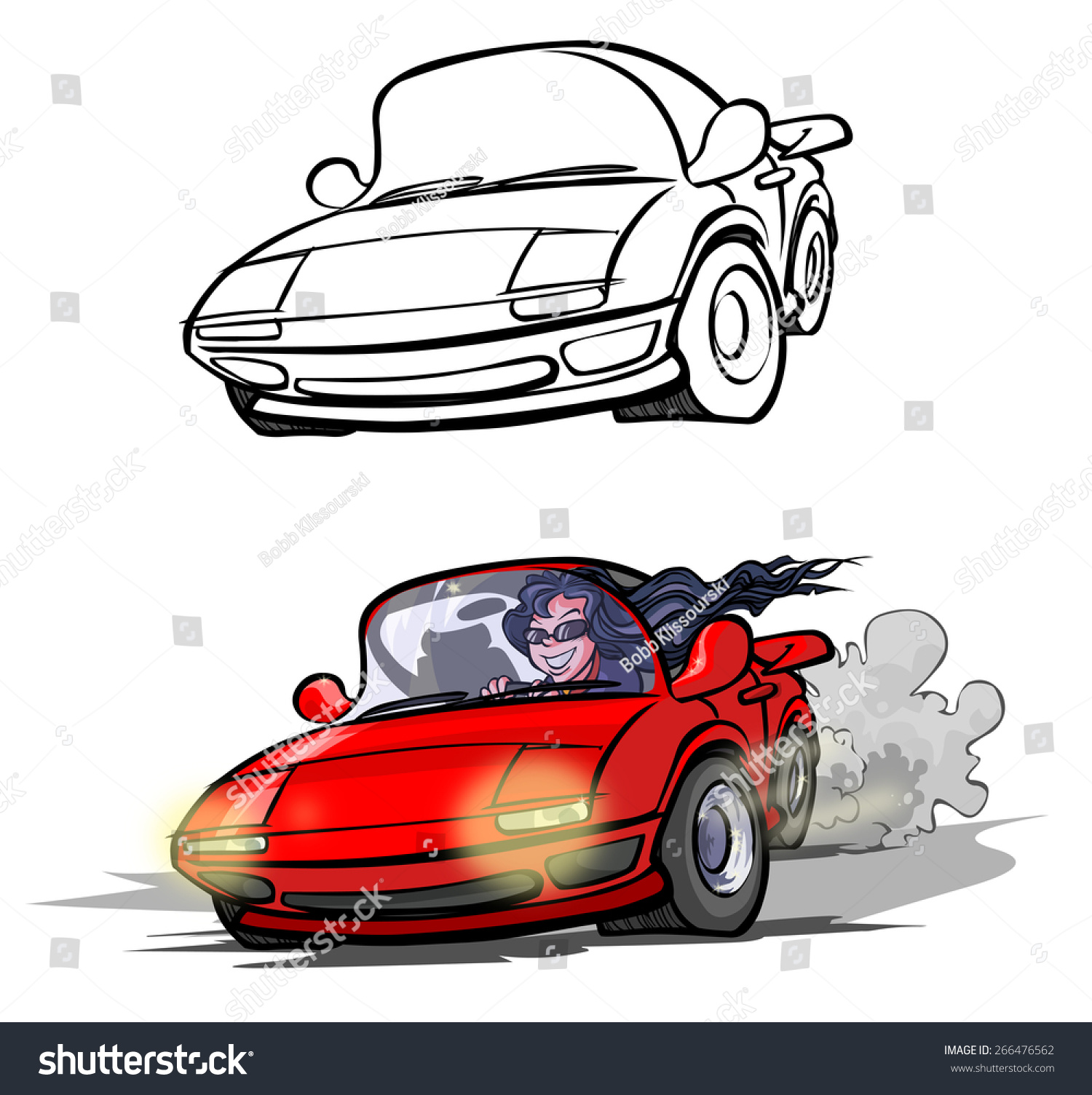 cartoon race car raster version stock illustration 266476562