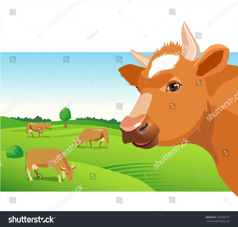 Cow Face Vector Image Cow Face Stock Vector 266490191 - Shutterstock