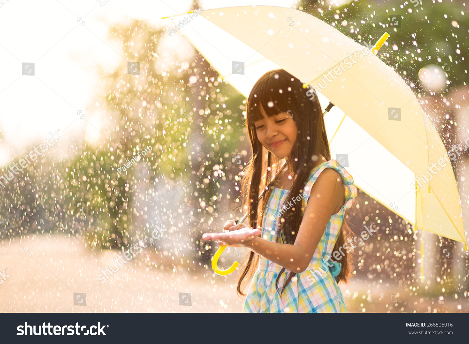 Pretty Young Asian Girl In The Rain With Umbrella Stock