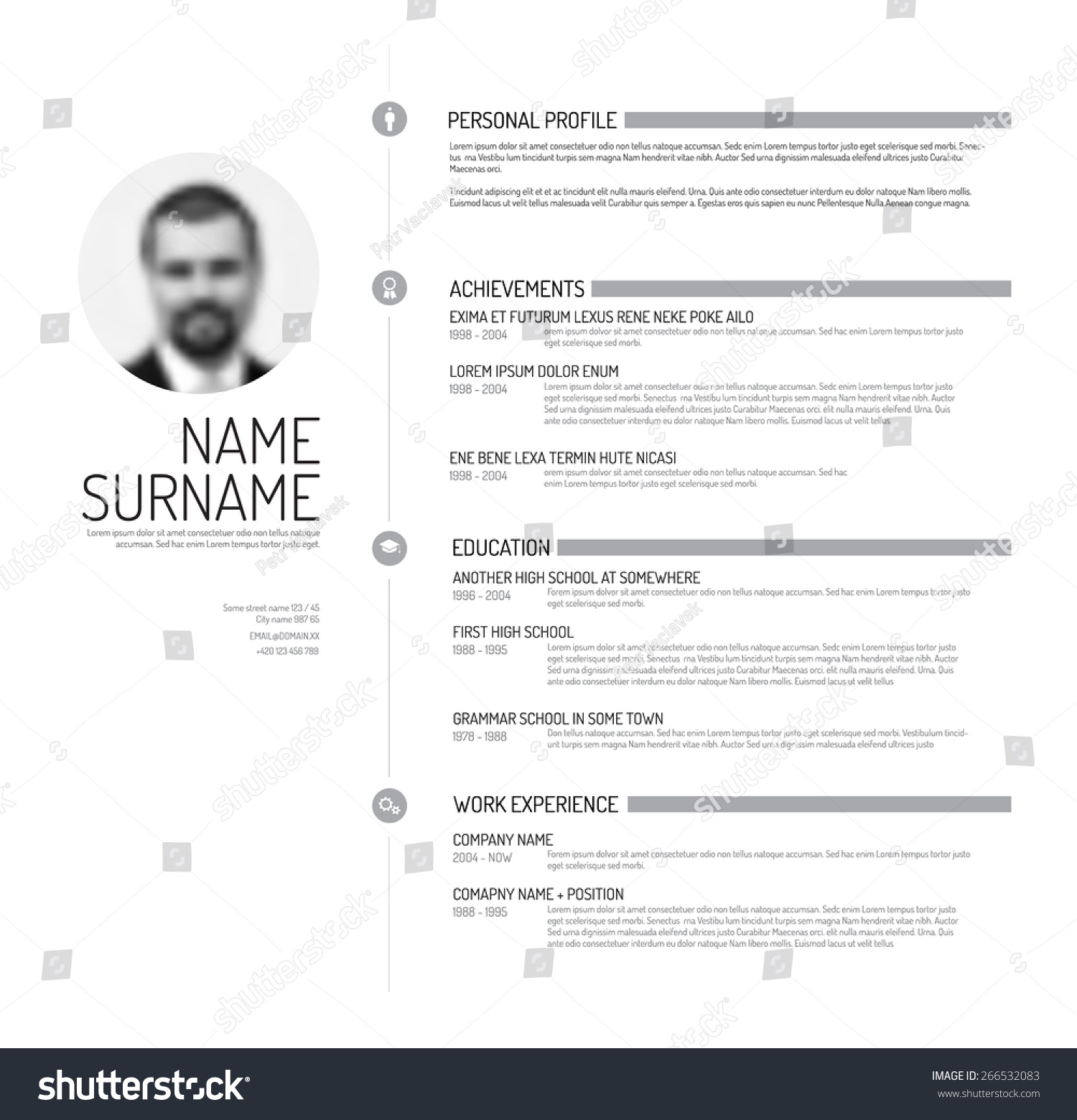 vector minimalist cv resume template minimalistic stock