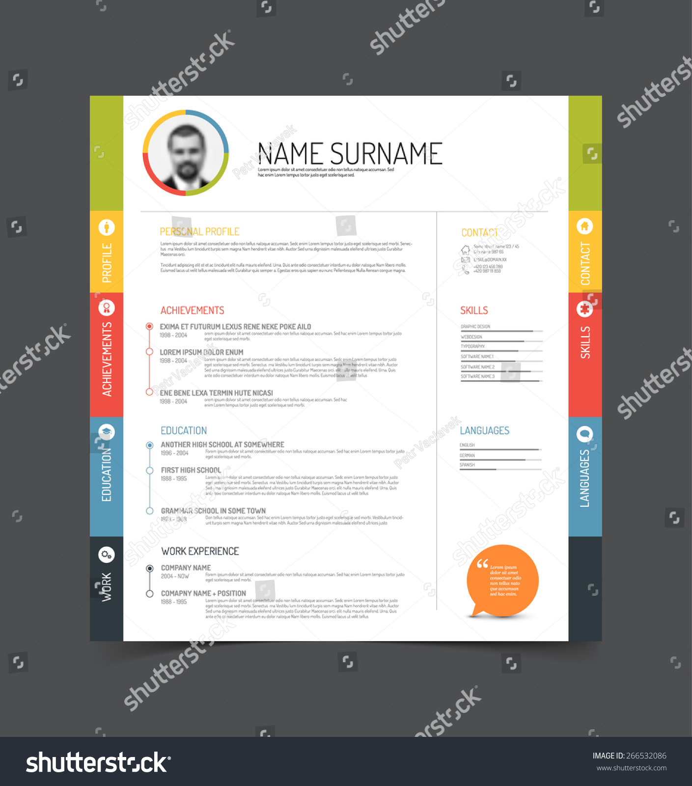 Vector Minimalist Cv Resume Template Color Stock Vector