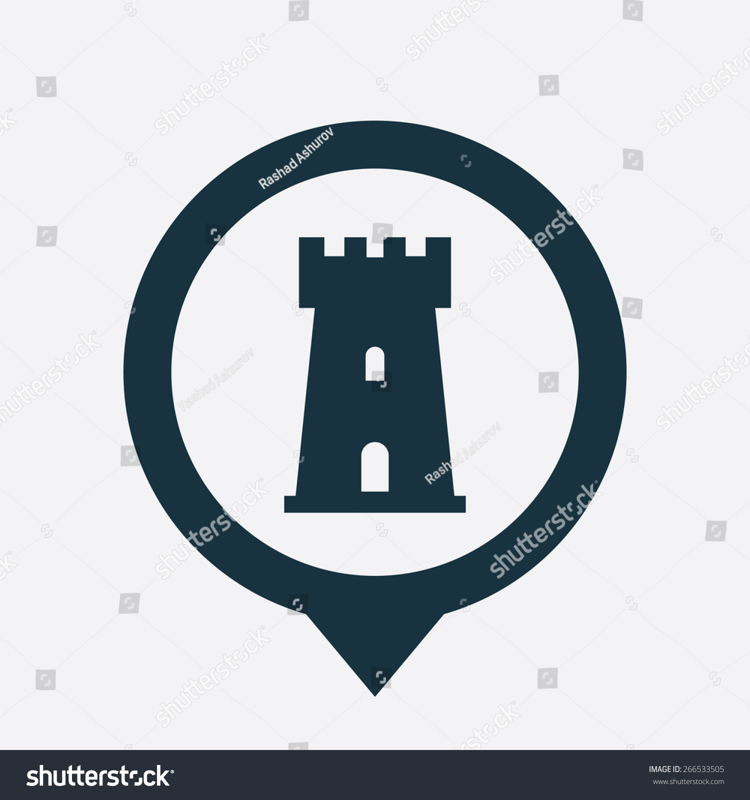 Castle icon map pin on white stock vector 266533505 shutterstock castle icon map pin on white background biocorpaavc Image collections