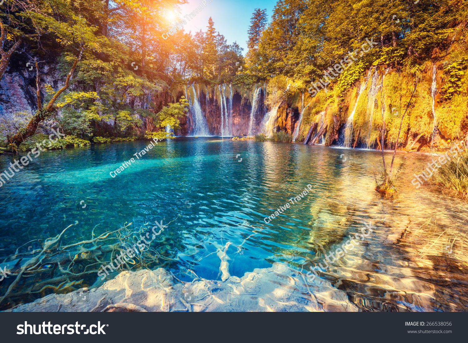 Majestic View On Turquoise Water Sunny Stock Photo ...