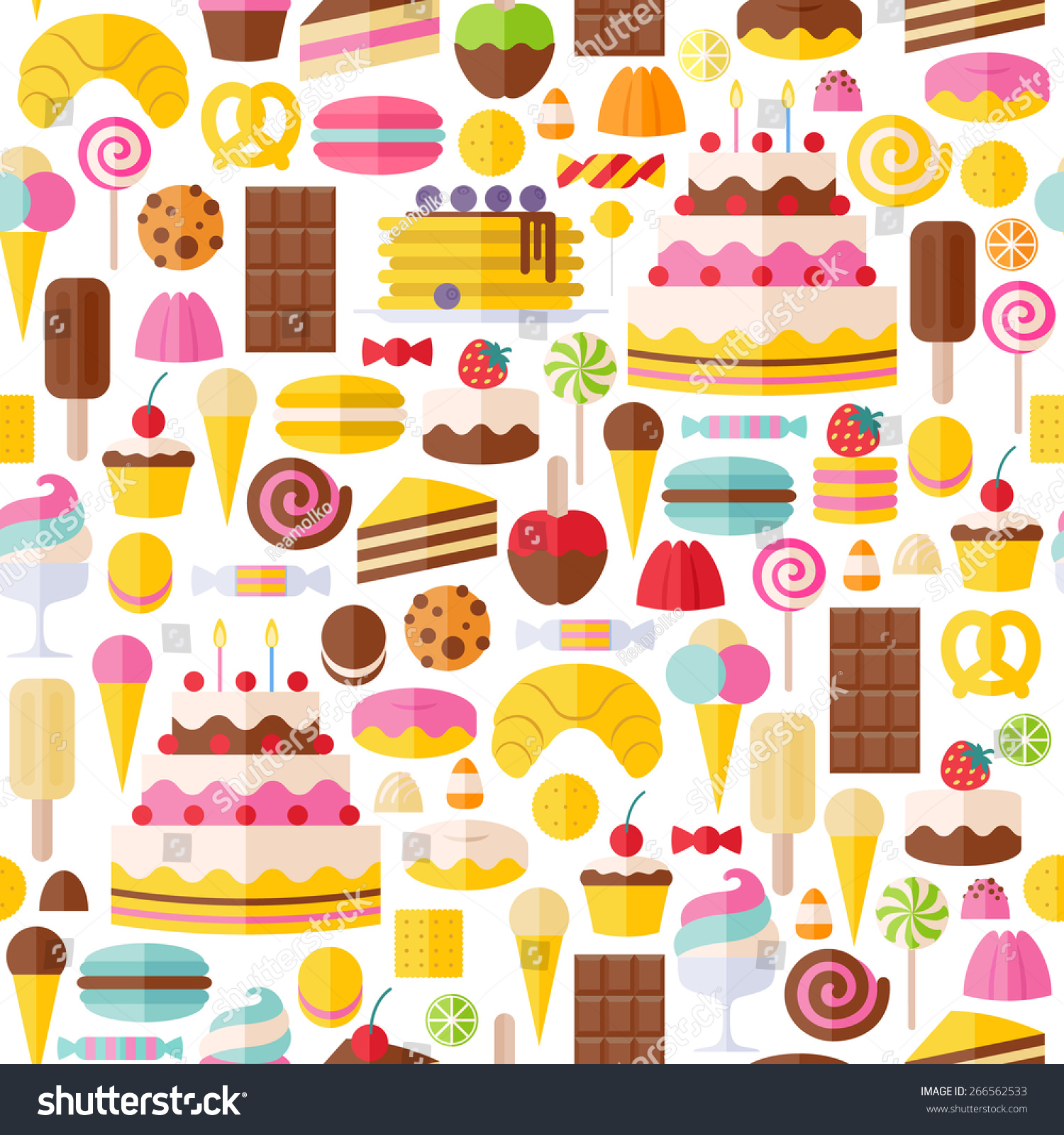 Sweet Ice Cream Flat Colorful Seamless Pattern Vector: Sweet Food Icons Seamless Pattern Candy Stock Vector