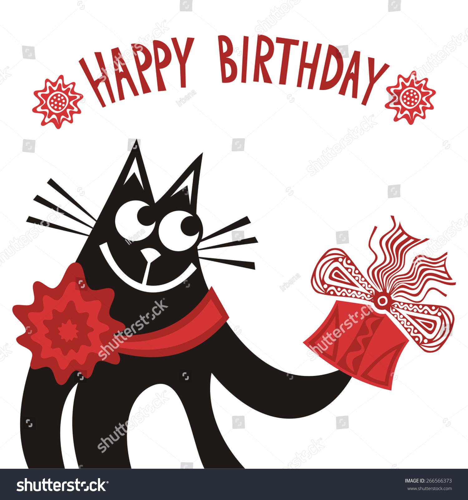 Happy birthday greeting card beautiful black stock vector 266566373 happy birthday greeting card beautiful black cat with gift cute cartoon vector illustration kristyandbryce Gallery
