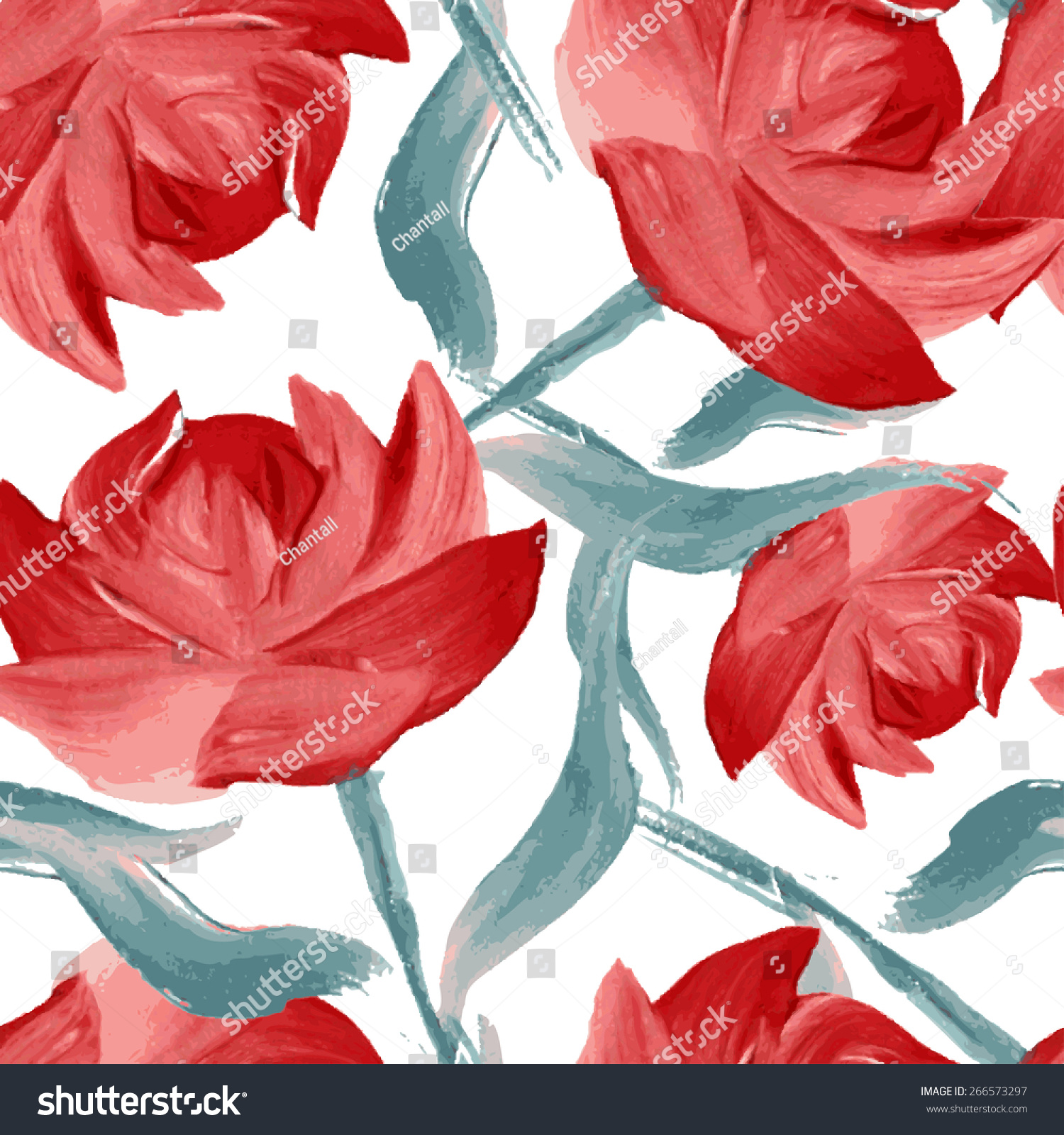Elegant Seamless Pattern Oil Painted Red Stock Vector (2018 ...