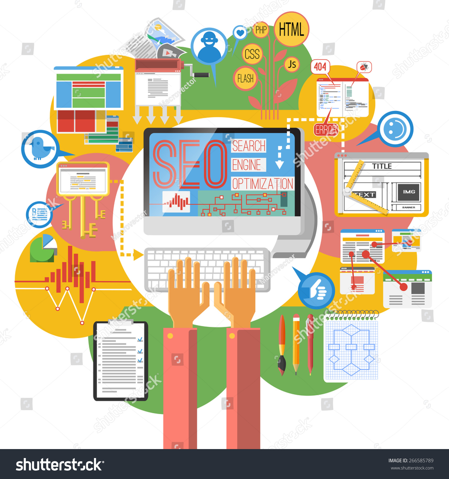 Graphic Site Map: Seo Concept Computer Search Engine Optimization Stock Vector 266585789